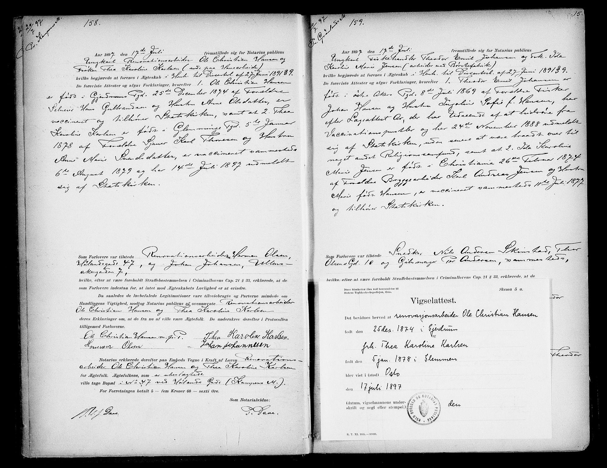 SAO, Oslo byfogd avd. I, L/Lb/Lbb/L0005: Notarialprotokoll, rekke II: Vigsler, 1897-1902, s. 14b-15a