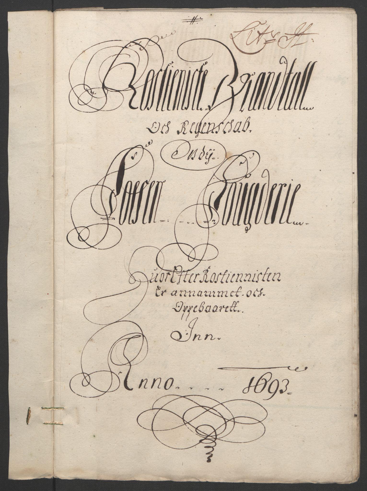 RA, Rentekammeret inntil 1814, Reviderte regnskaper, Fogderegnskap, R57/L3849: Fogderegnskap Fosen, 1692-1693, s. 509