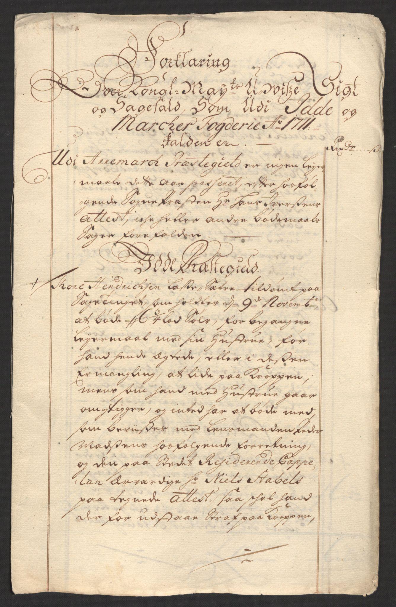 RA, Rentekammeret inntil 1814, Reviderte regnskaper, Fogderegnskap, R01/L0020: Fogderegnskap Idd og Marker, 1711, s. 68