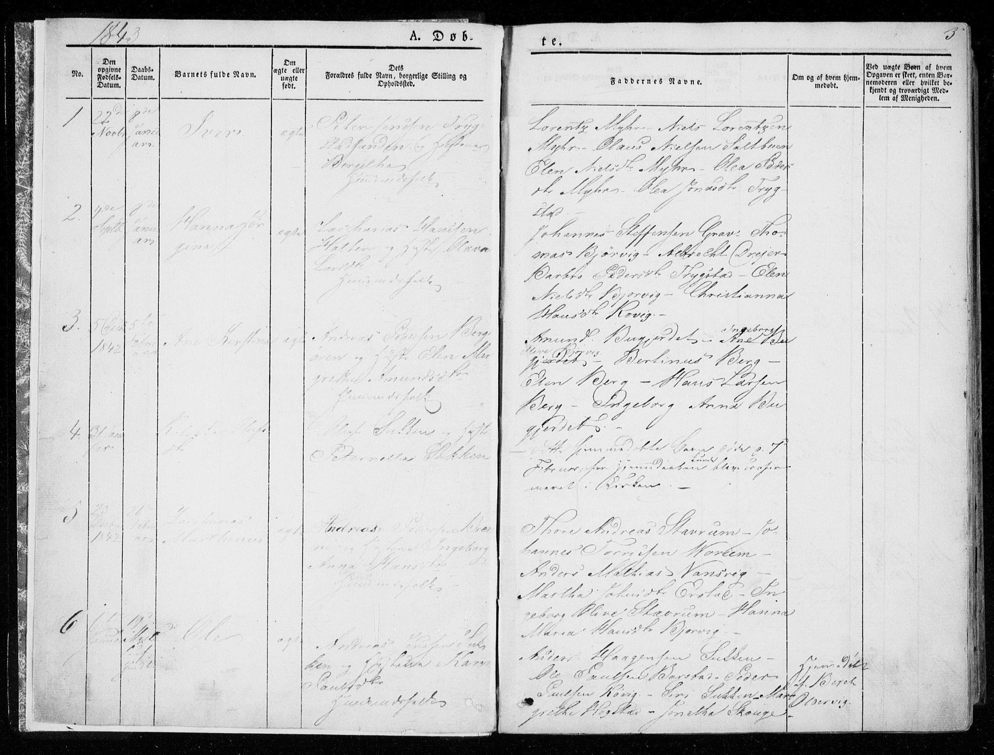 SAT, Ministerialprotokoller, klokkerbøker og fødselsregistre - Nord-Trøndelag, 722/L0218: Ministerialbok nr. 722A05, 1843-1868, s. 3