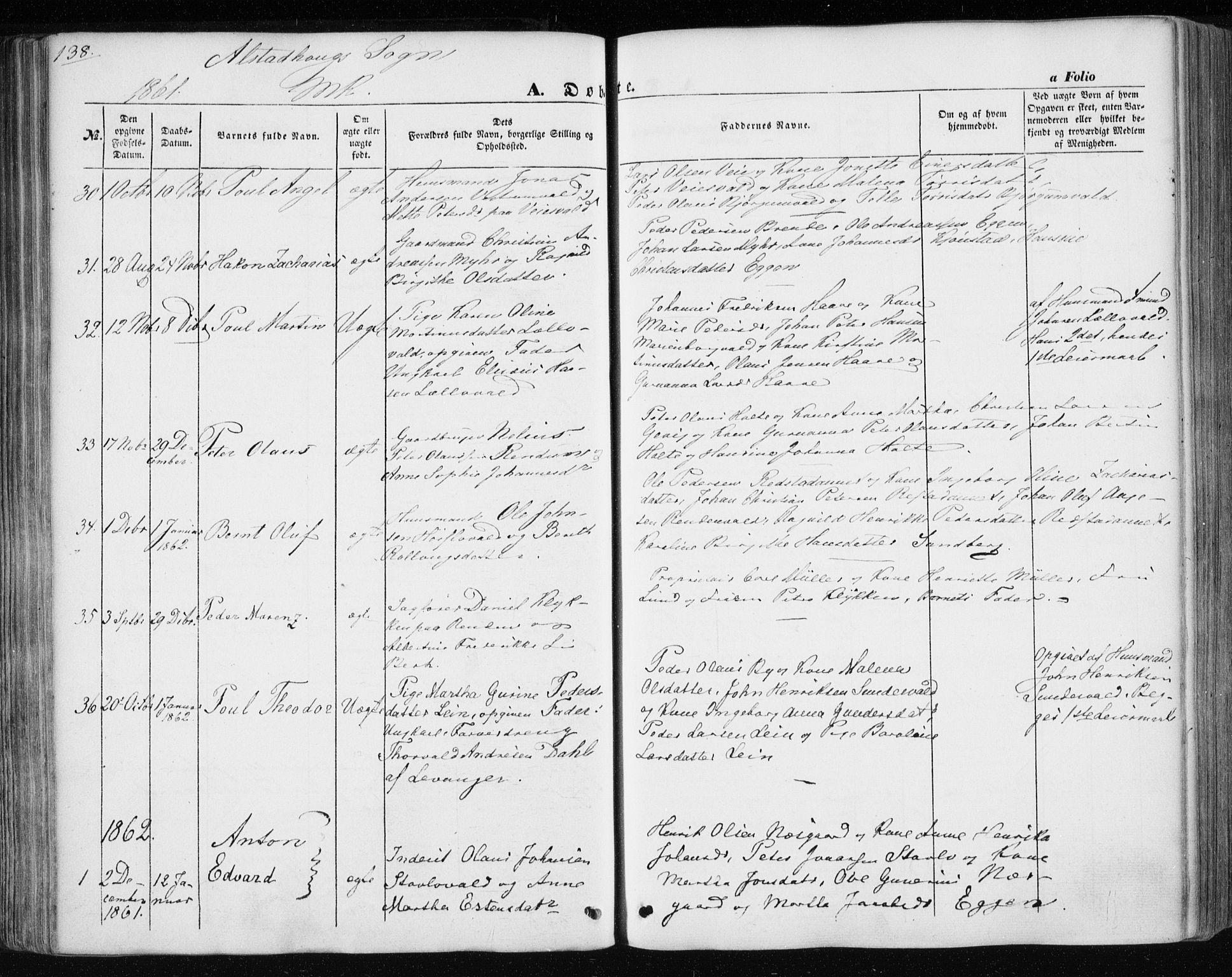 SAT, Ministerialprotokoller, klokkerbøker og fødselsregistre - Nord-Trøndelag, 717/L0154: Ministerialbok nr. 717A07 /1, 1850-1862, s. 138
