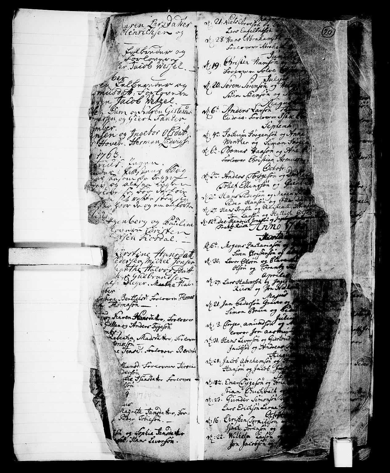 SAKO, Skien kirkebøker, G/Ga/L0001: Klokkerbok nr. 1, 1756-1791, s. 20