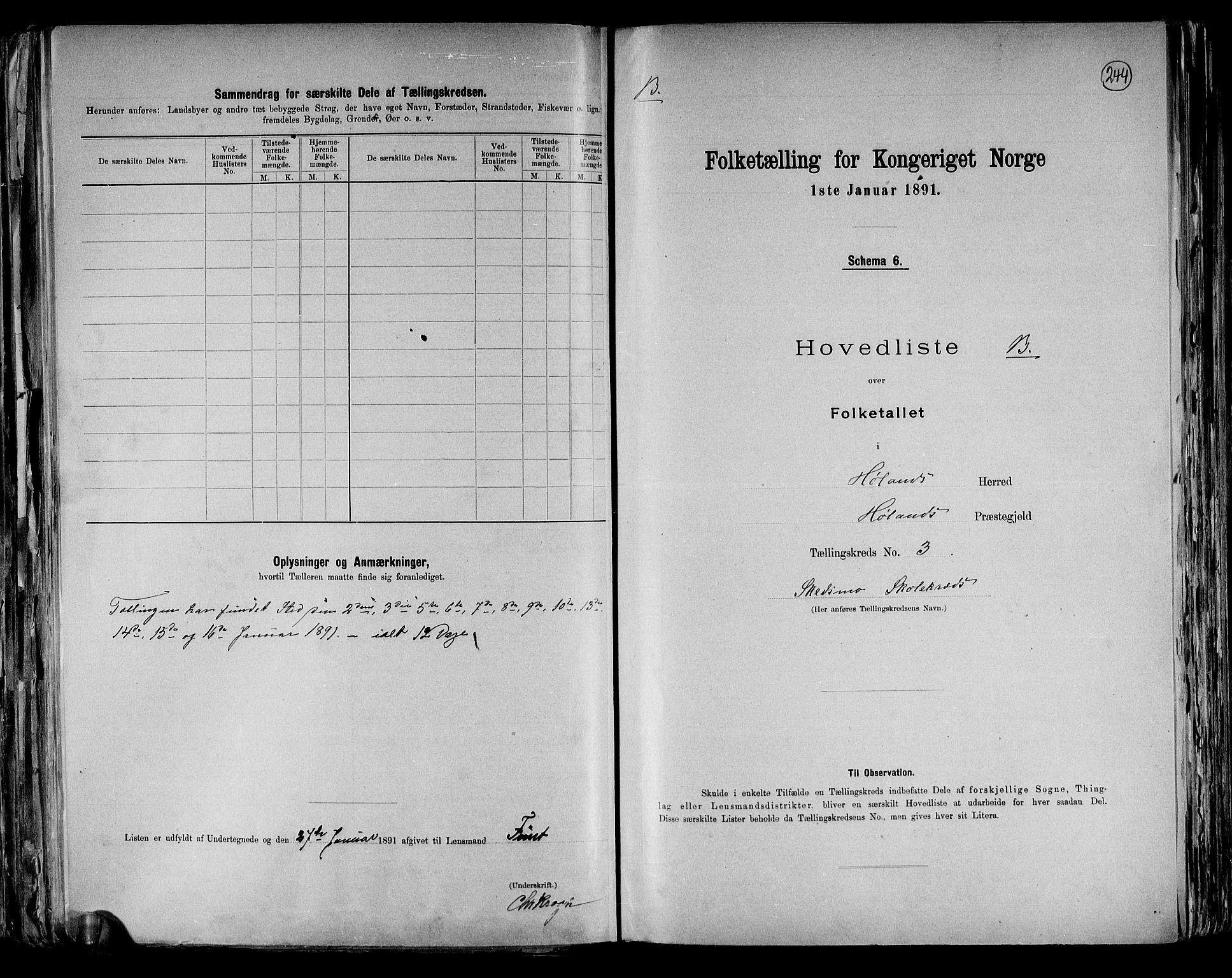 RA, Folketelling 1891 for 0221 Høland herred, 1891, s. 14