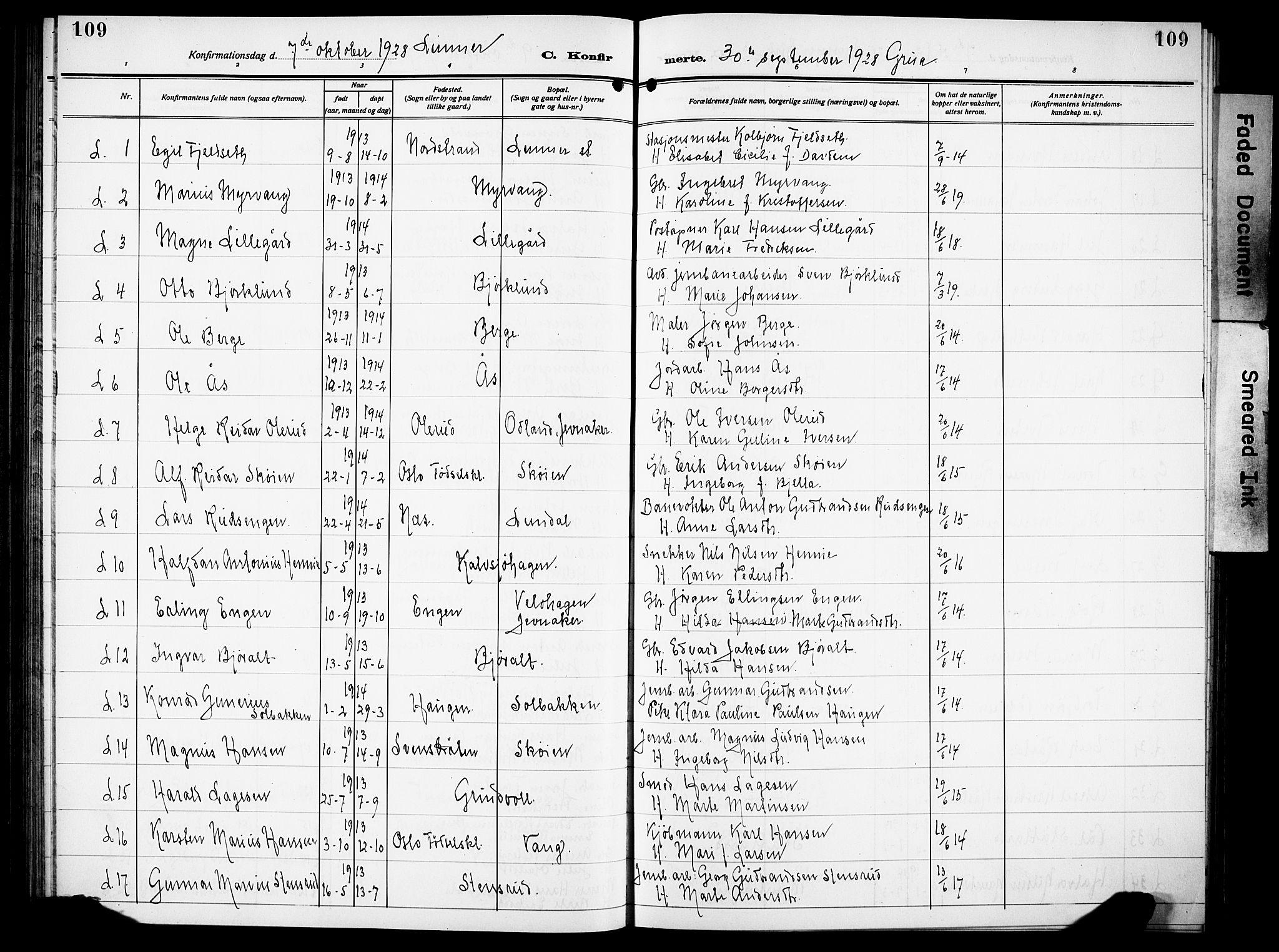 SAH, Lunner prestekontor, H/Ha/Hab/L0002: Klokkerbok nr. 2, 1923-1933, s. 109