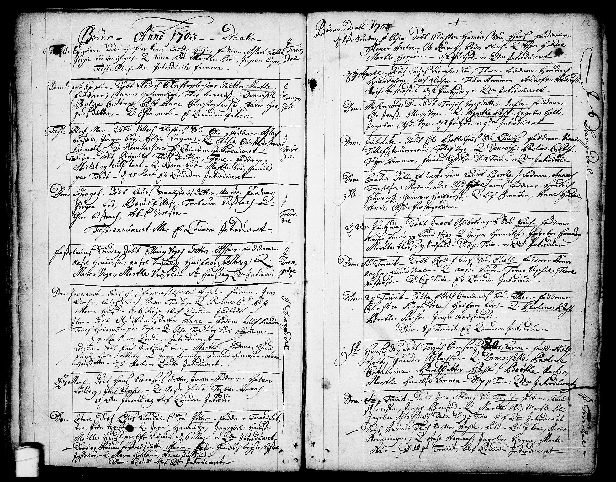 SAKO, Drangedal kirkebøker, F/Fa/L0001: Ministerialbok nr. 1, 1697-1767, s. 12