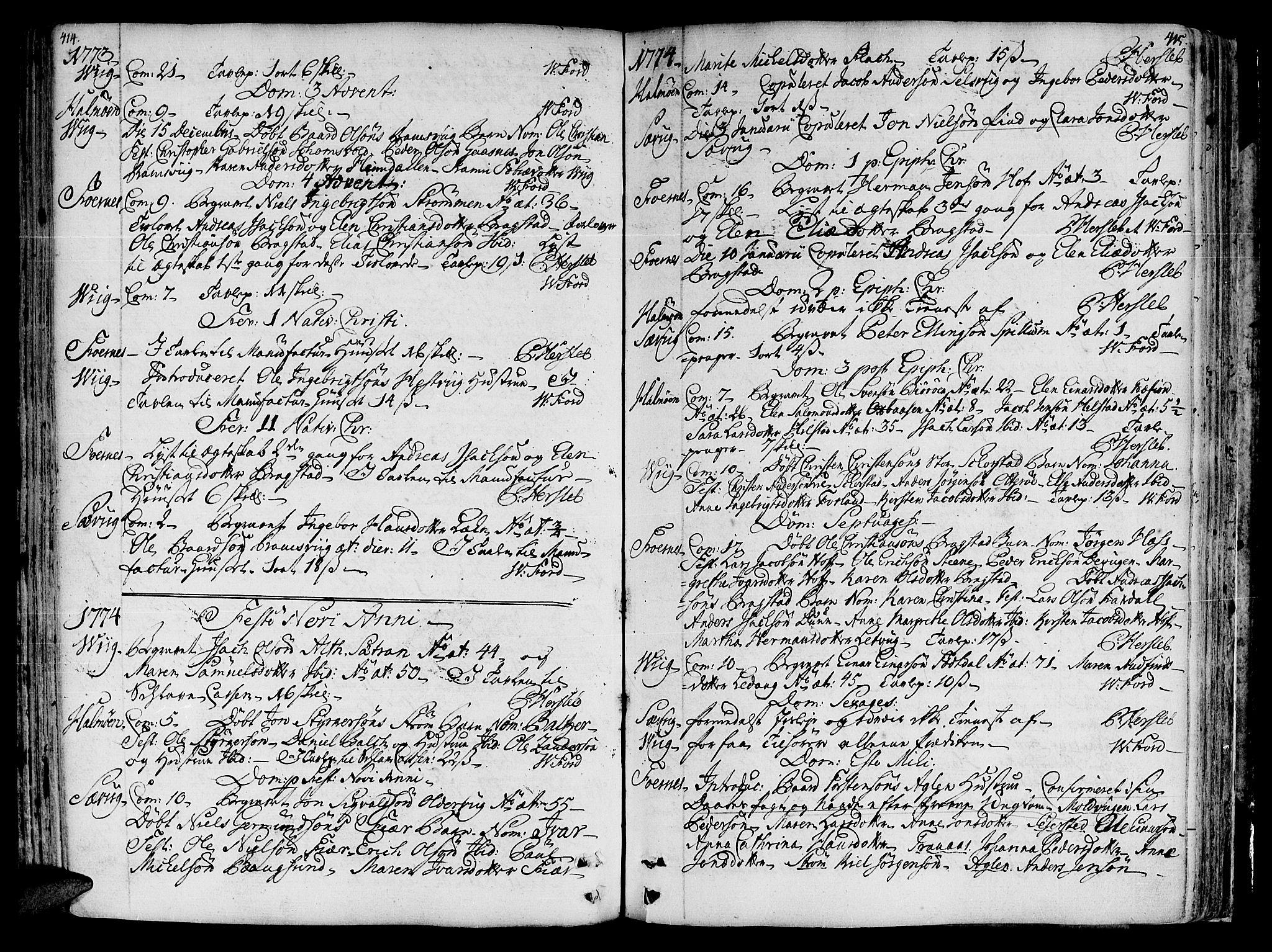 SAT, Ministerialprotokoller, klokkerbøker og fødselsregistre - Nord-Trøndelag, 773/L0607: Ministerialbok nr. 773A01, 1751-1783, s. 414-415