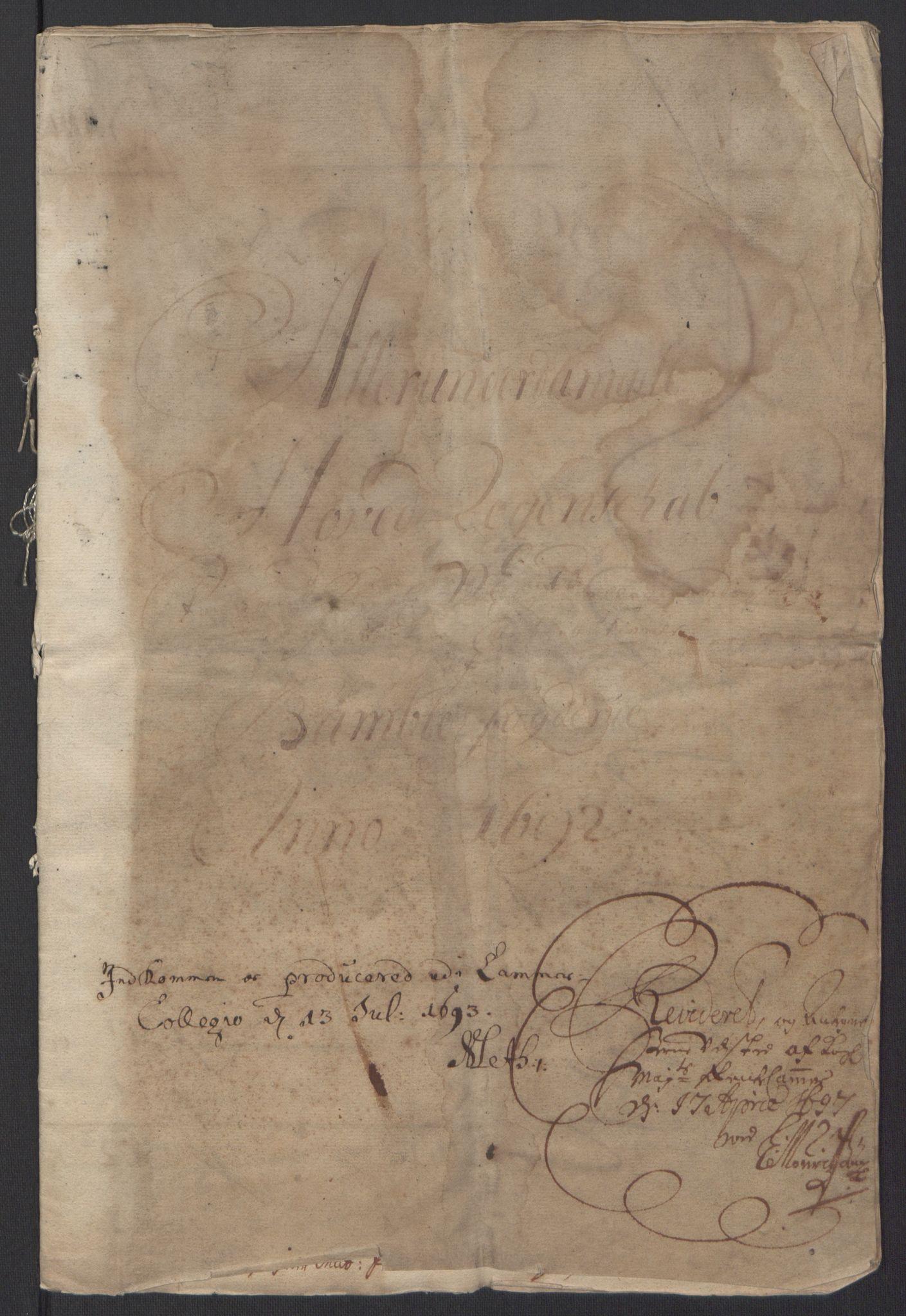 RA, Rentekammeret inntil 1814, Reviderte regnskaper, Fogderegnskap, R34/L2052: Fogderegnskap Bamble, 1692-1693, s. 3