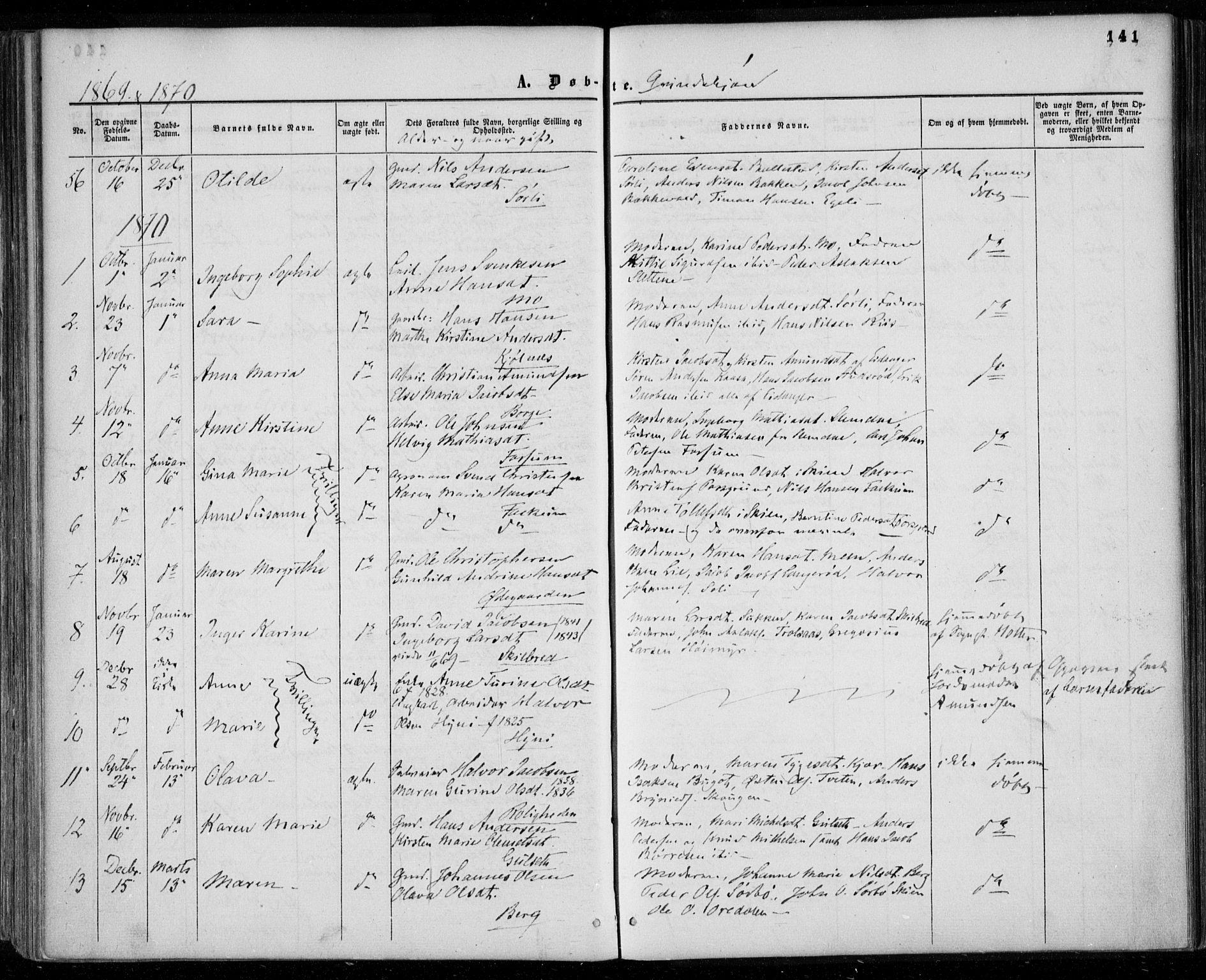 SAKO, Gjerpen kirkebøker, F/Fa/L0008a: Ministerialbok nr. 8A, 1857-1871, s. 141
