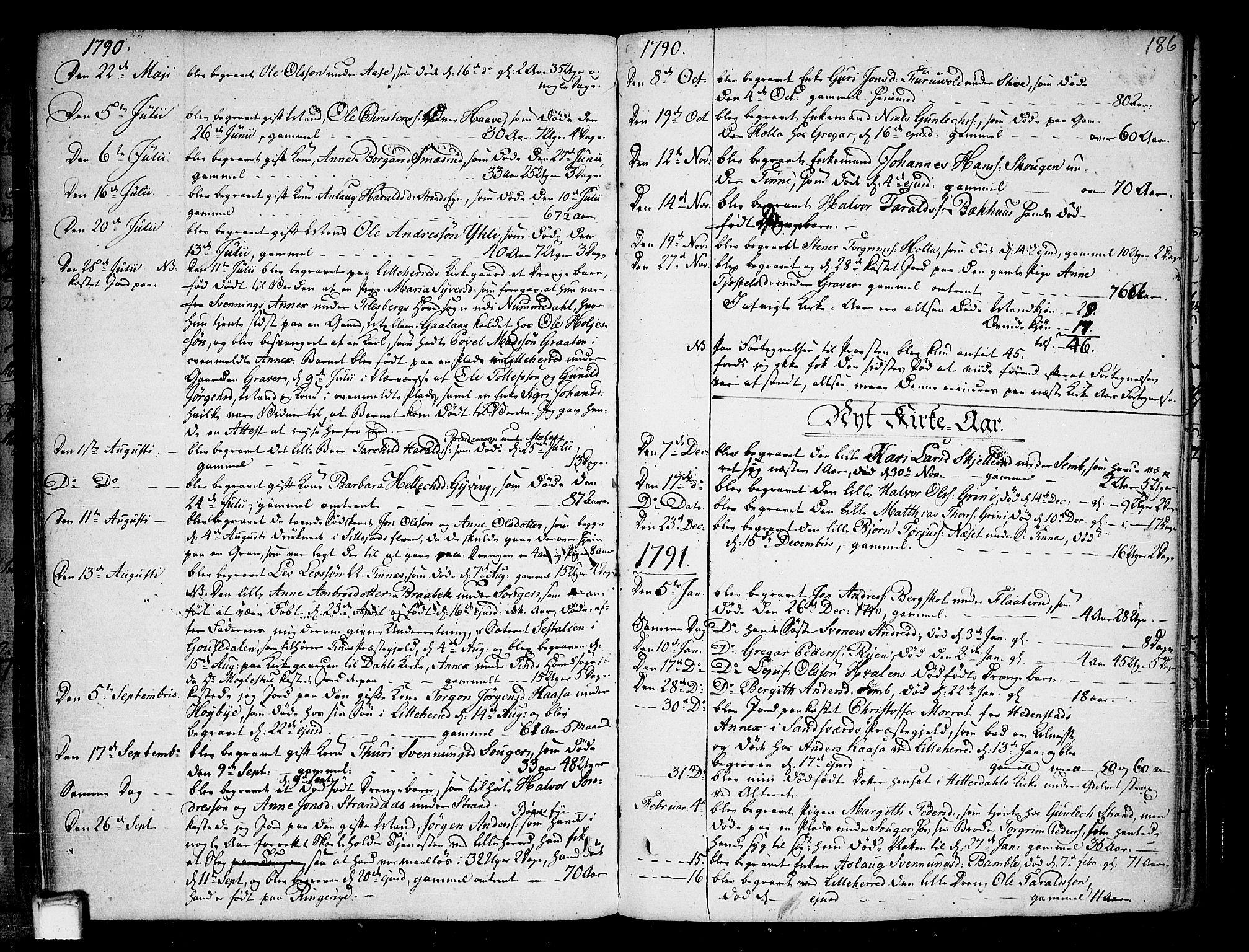SAKO, Heddal kirkebøker, F/Fa/L0004: Ministerialbok nr. I 4, 1784-1814, s. 186