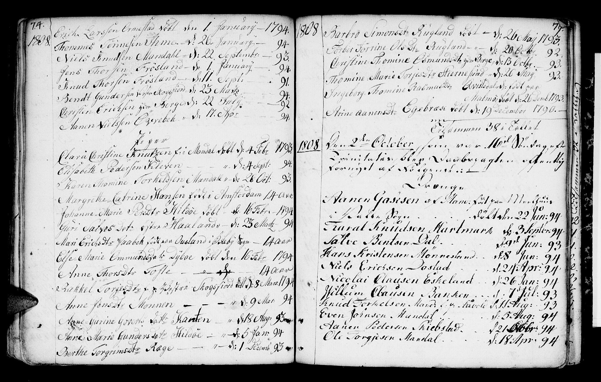 SAK, Mandal sokneprestkontor, F/Fa/Faa/L0004: Ministerialbok nr. A 4, 1745-1817, s. 74-75
