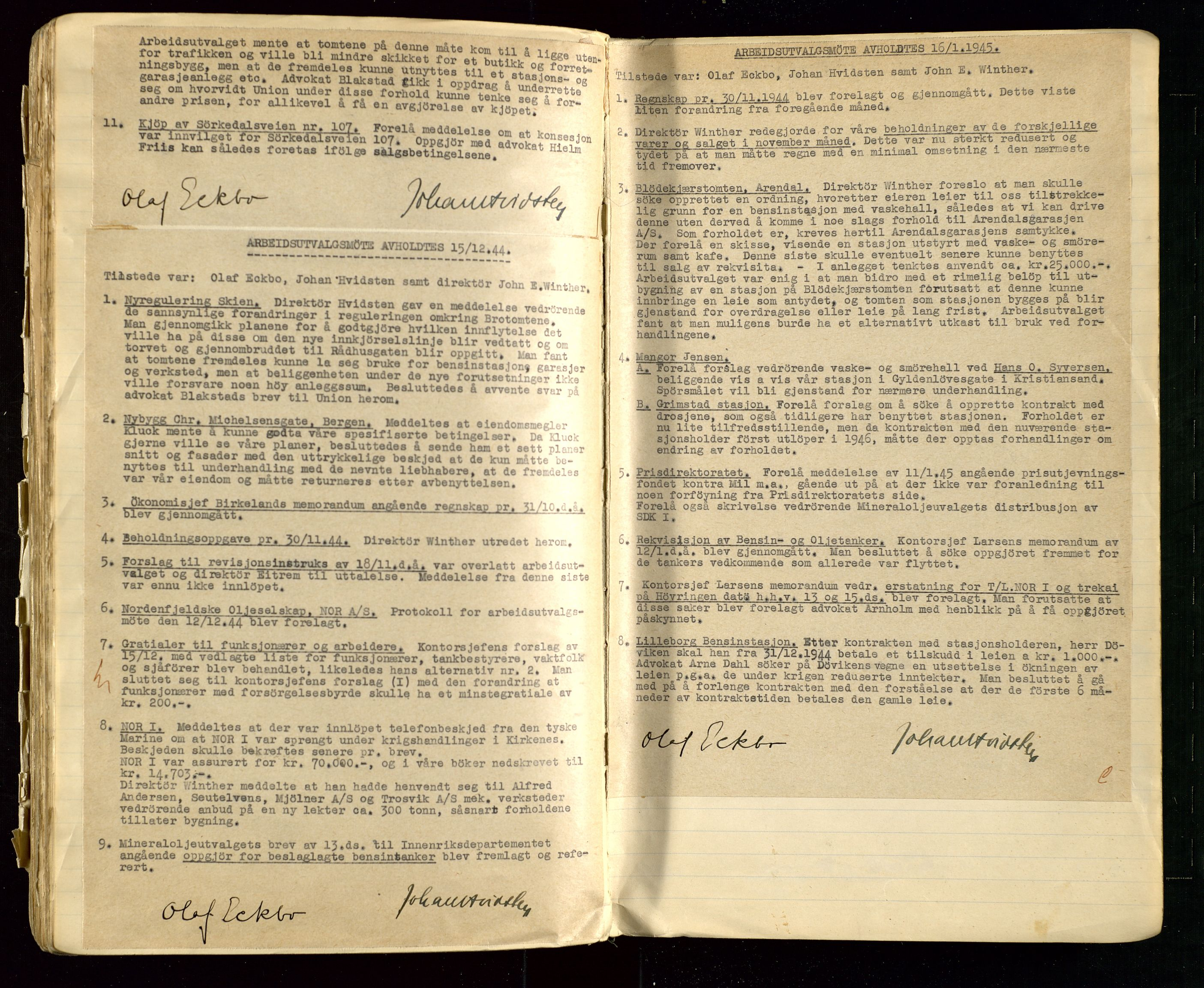SAST, PA 1514 - Sporveienes Bensindepot, Norsk Oljeraffineri A/S, A/L0002: Forhandlingsprotokoll Arbeidsutvaget, 1932-1946, s. 145