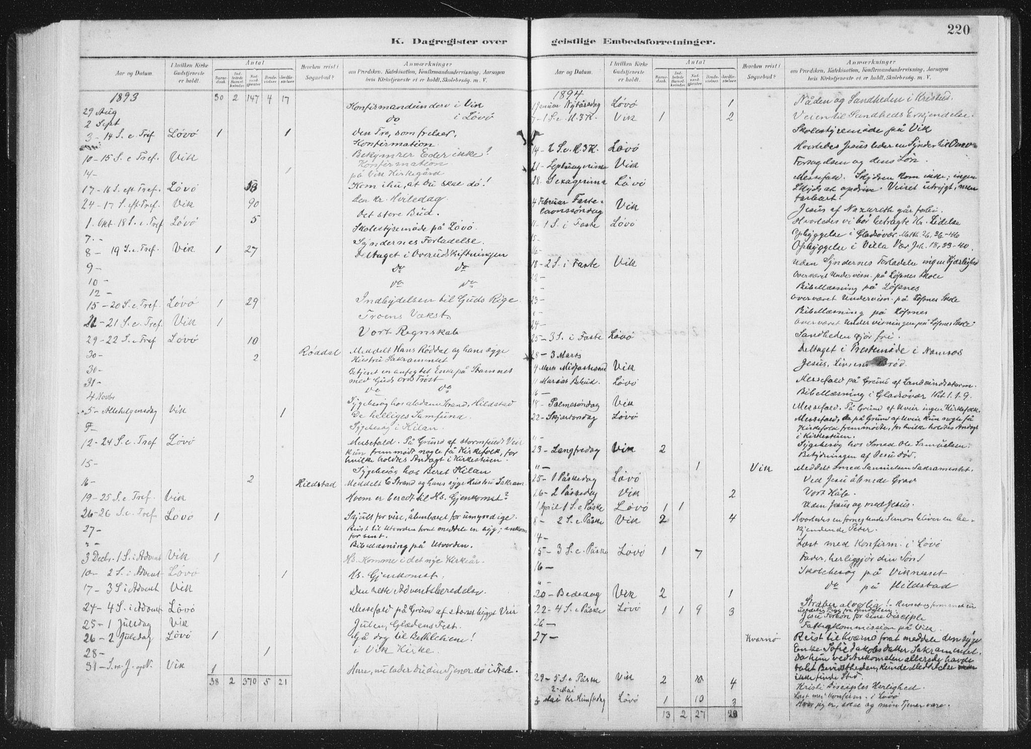 SAT, Ministerialprotokoller, klokkerbøker og fødselsregistre - Nord-Trøndelag, 771/L0597: Ministerialbok nr. 771A04, 1885-1910, s. 220