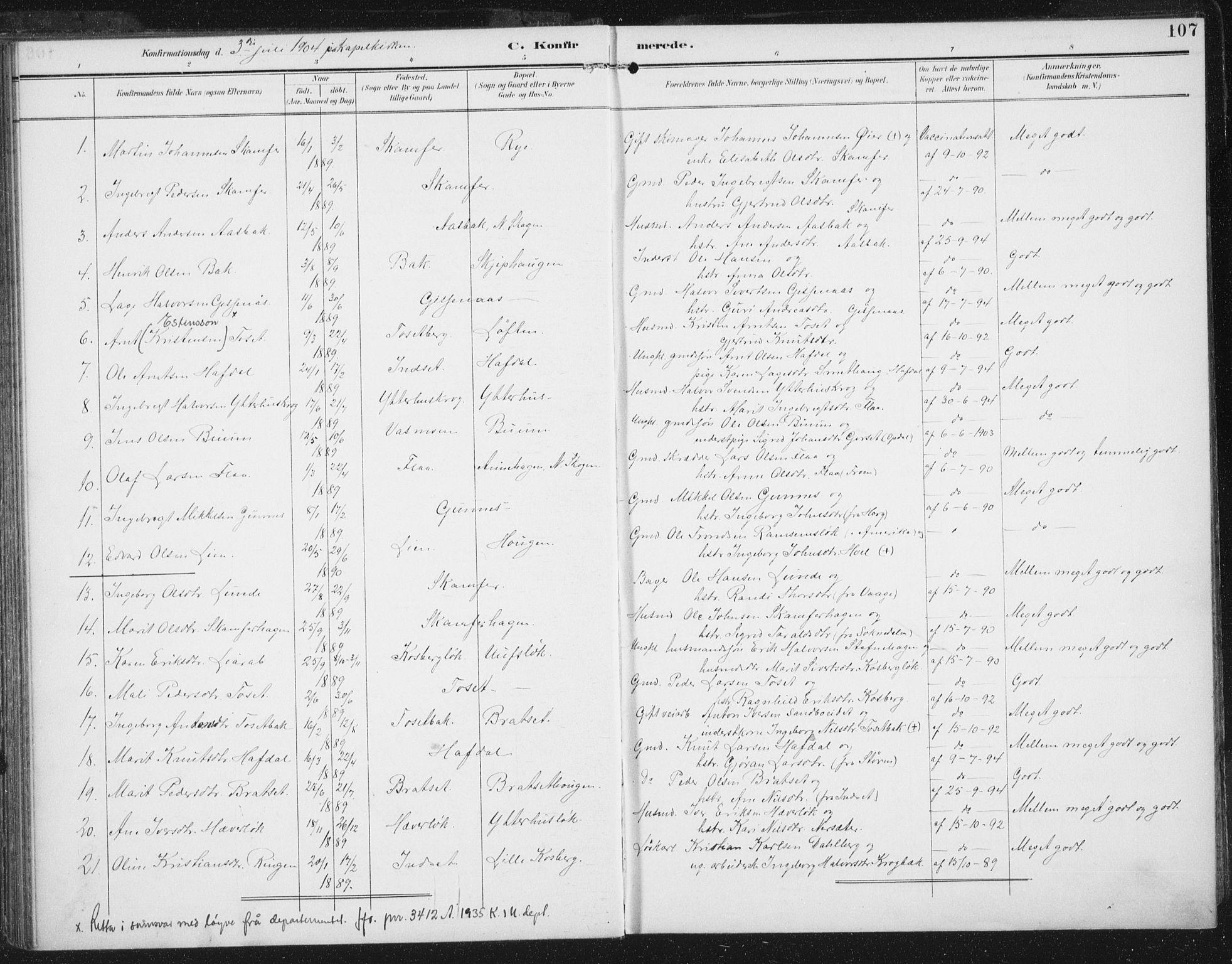 SAT, Ministerialprotokoller, klokkerbøker og fødselsregistre - Sør-Trøndelag, 674/L0872: Ministerialbok nr. 674A04, 1897-1907, s. 107