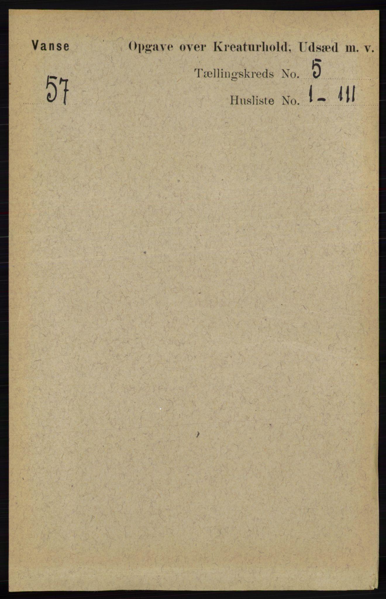 RA, Folketelling 1891 for 1041 Vanse herred, 1891, s. 8733