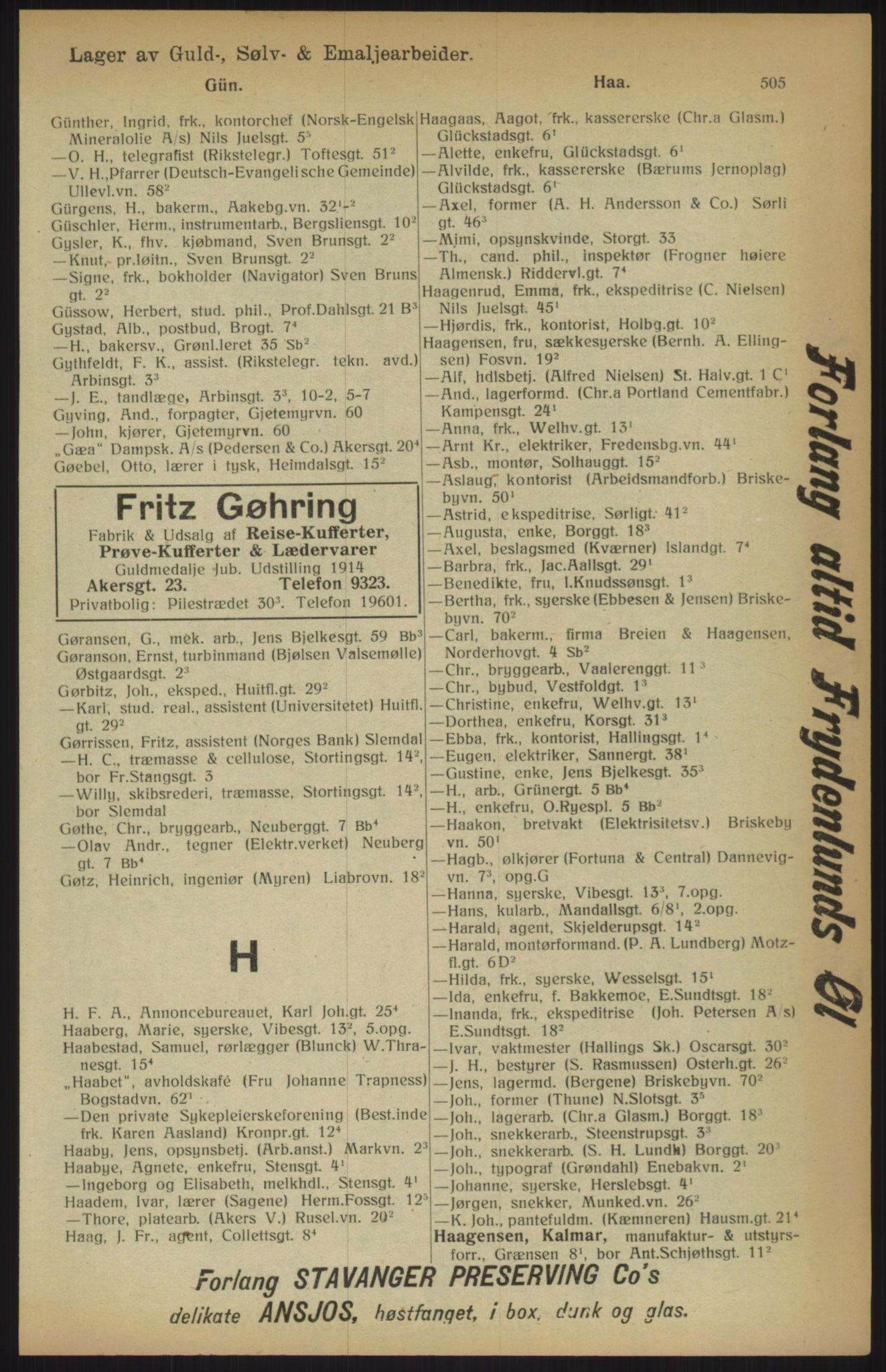 RA, Kristiania adressebok (publikasjon)*, 1915, s. 505
