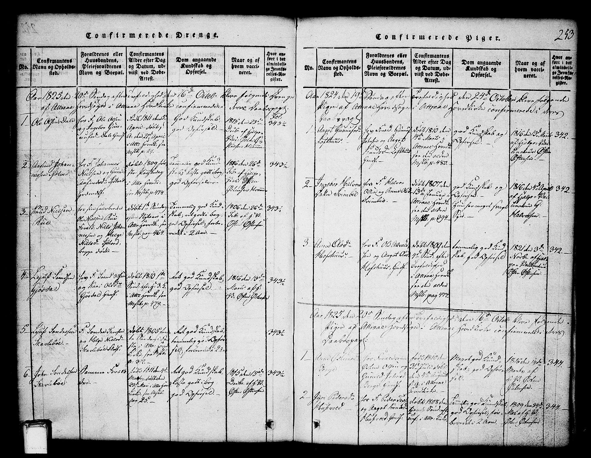 SAKO, Tinn kirkebøker, G/Ga/L0001: Klokkerbok nr. I 1, 1815-1850, s. 253