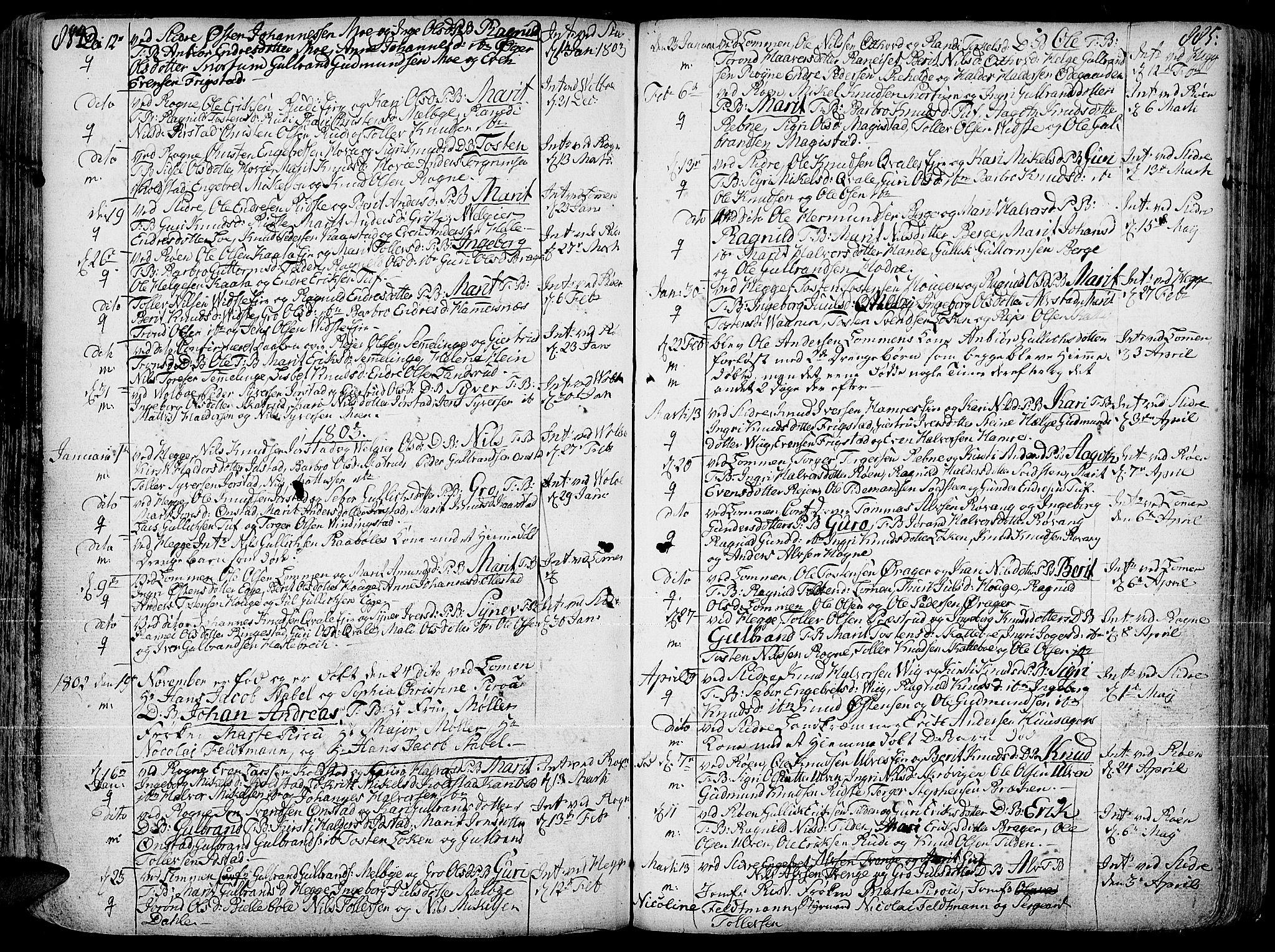 SAH, Slidre prestekontor, Ministerialbok nr. 1, 1724-1814, s. 884-885