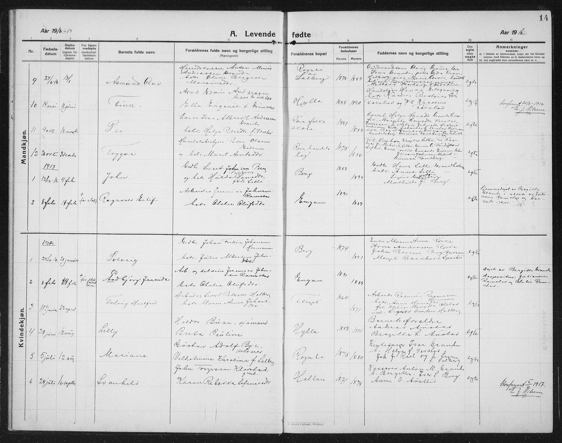 SAT, Ministerialprotokoller, klokkerbøker og fødselsregistre - Nord-Trøndelag, 731/L0312: Klokkerbok nr. 731C03, 1911-1935, s. 14