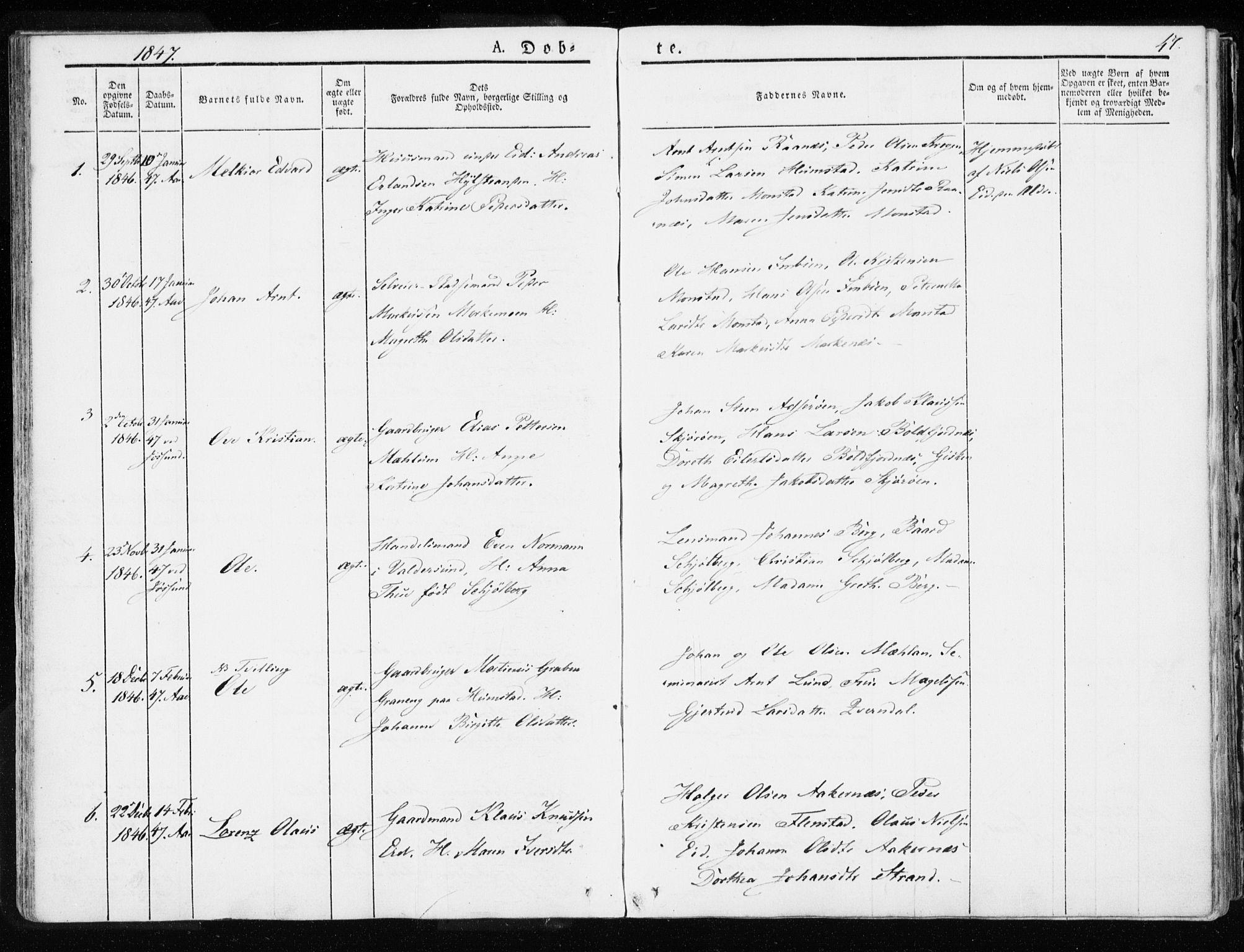 SAT, Ministerialprotokoller, klokkerbøker og fødselsregistre - Sør-Trøndelag, 655/L0676: Ministerialbok nr. 655A05, 1830-1847, s. 47