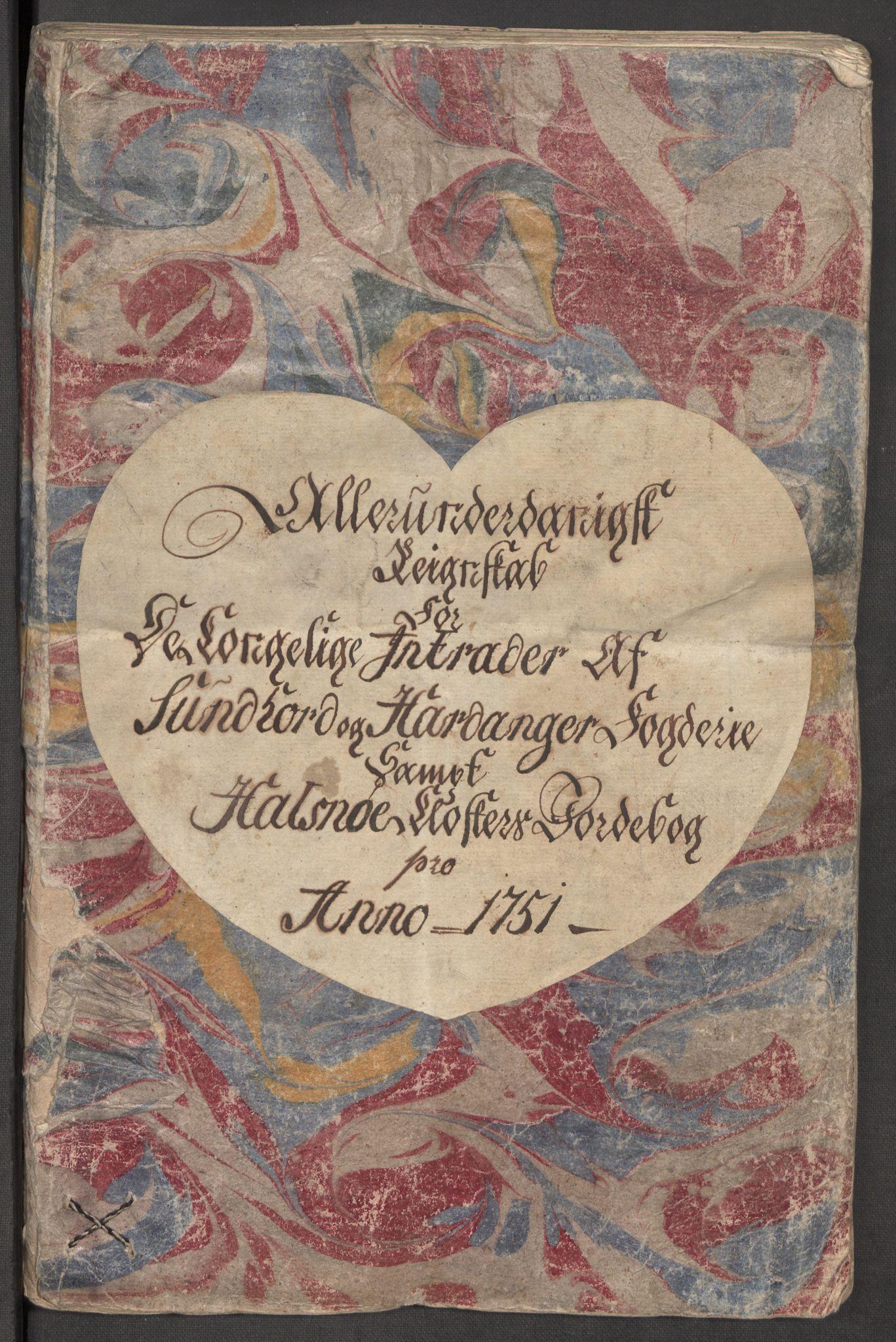 RA, Rentekammeret inntil 1814, Reviderte regnskaper, Fogderegnskap, R48/L3056: Fogderegnskap Sunnhordland og Hardanger, 1751, s. 3