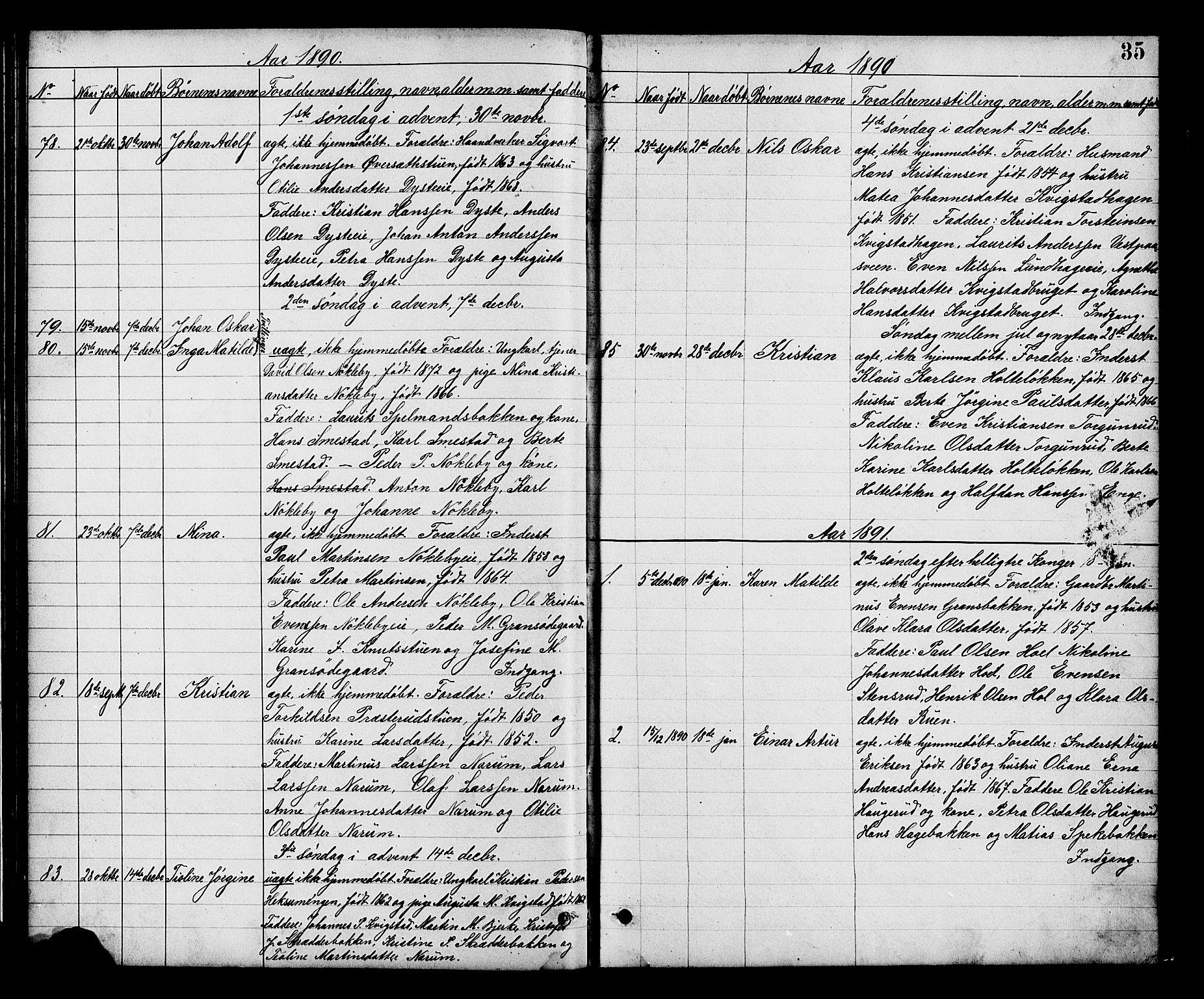 SAH, Vestre Toten prestekontor, H/Ha/Hab/L0008: Klokkerbok nr. 8, 1885-1900, s. 35