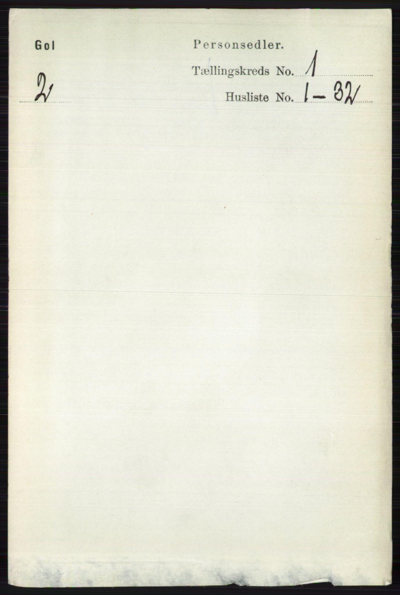 RA, Folketelling 1891 for 0617 Gol og Hemsedal herred, 1891, s. 125