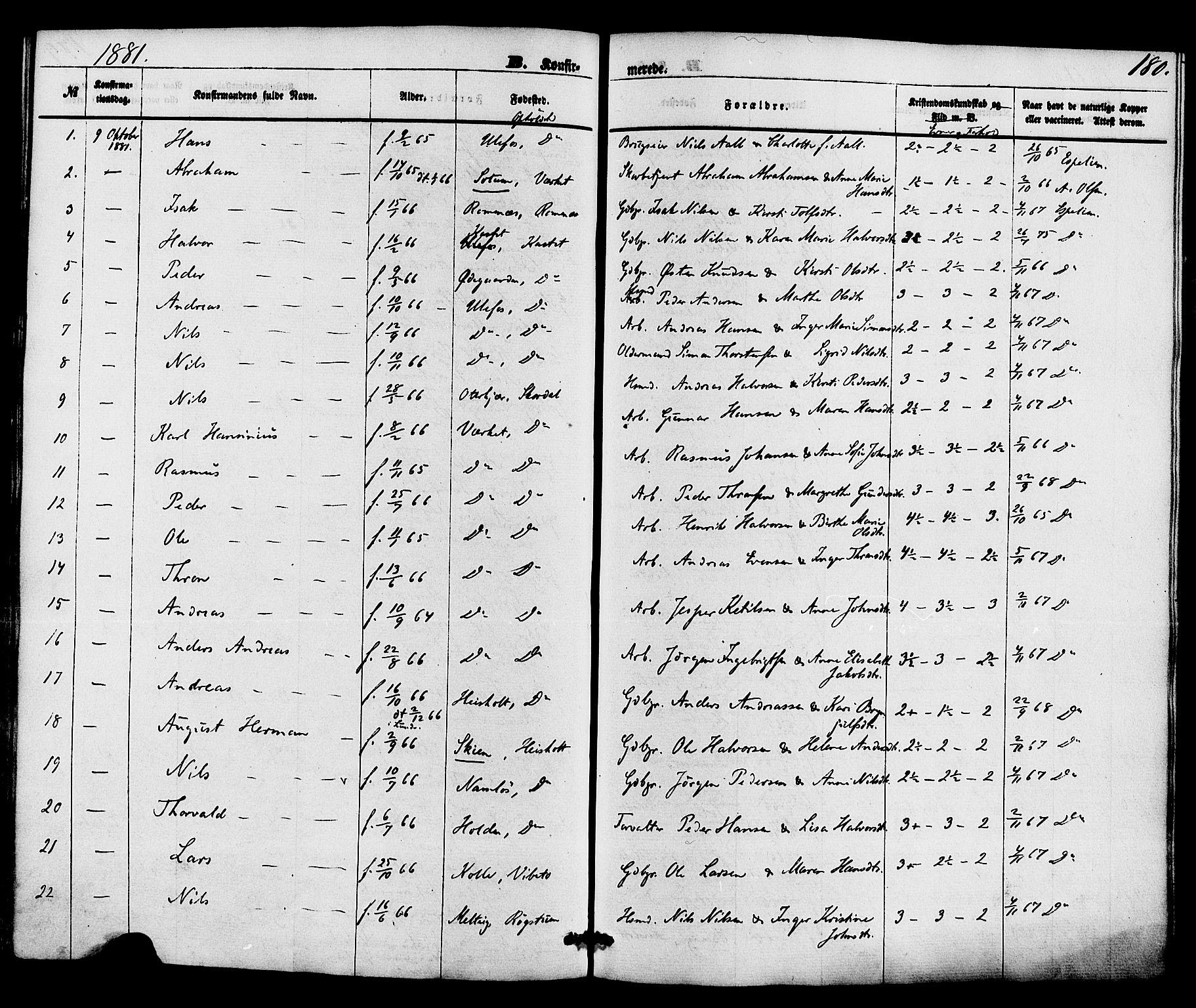SAKO, Holla kirkebøker, F/Fa/L0007: Ministerialbok nr. 7, 1869-1881, s. 180