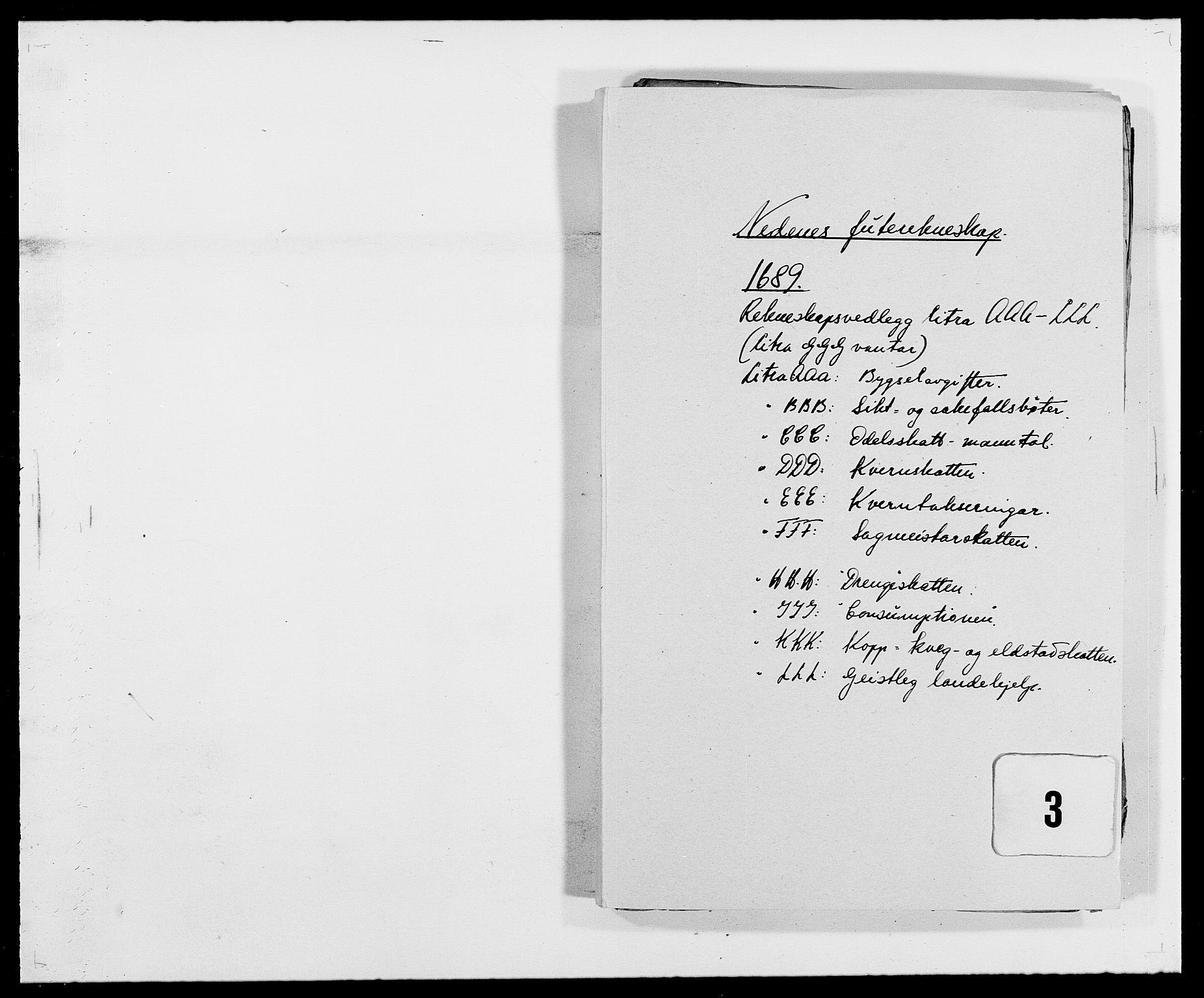 RA, Rentekammeret inntil 1814, Reviderte regnskaper, Fogderegnskap, R39/L2309: Fogderegnskap Nedenes, 1684-1689, s. 282