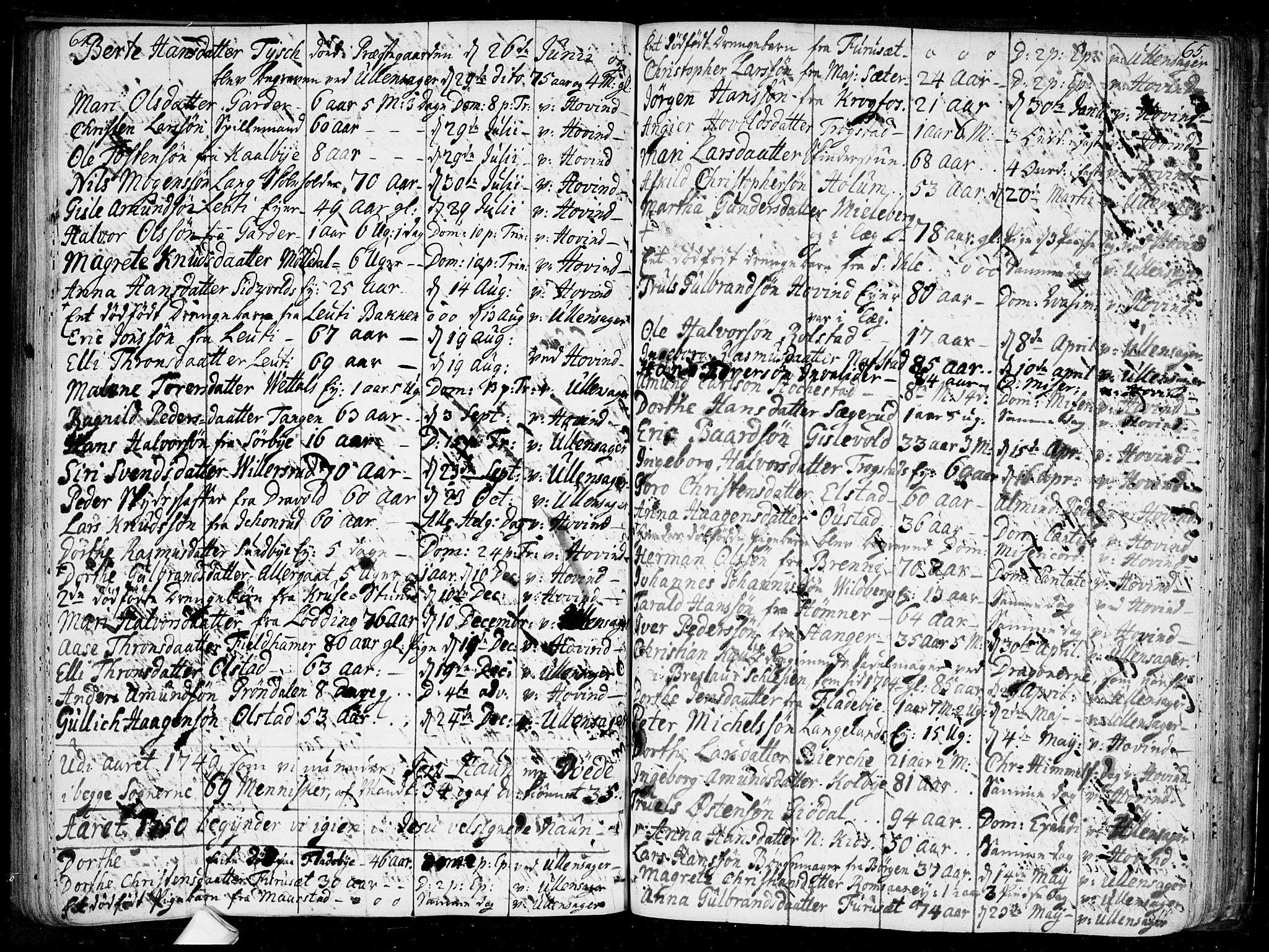 SAO, Ullensaker prestekontor Kirkebøker, F/Fa/L0010: Ministerialbok nr. I 10, 1733-1776, s. 64-65