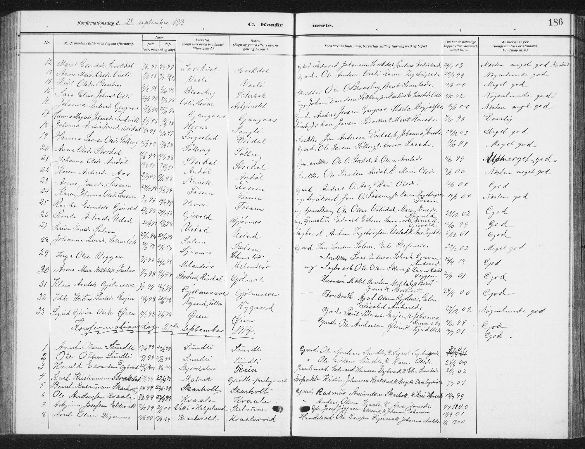 SAT, Ministerialprotokoller, klokkerbøker og fødselsregistre - Sør-Trøndelag, 668/L0820: Klokkerbok nr. 668C09, 1912-1936, s. 186