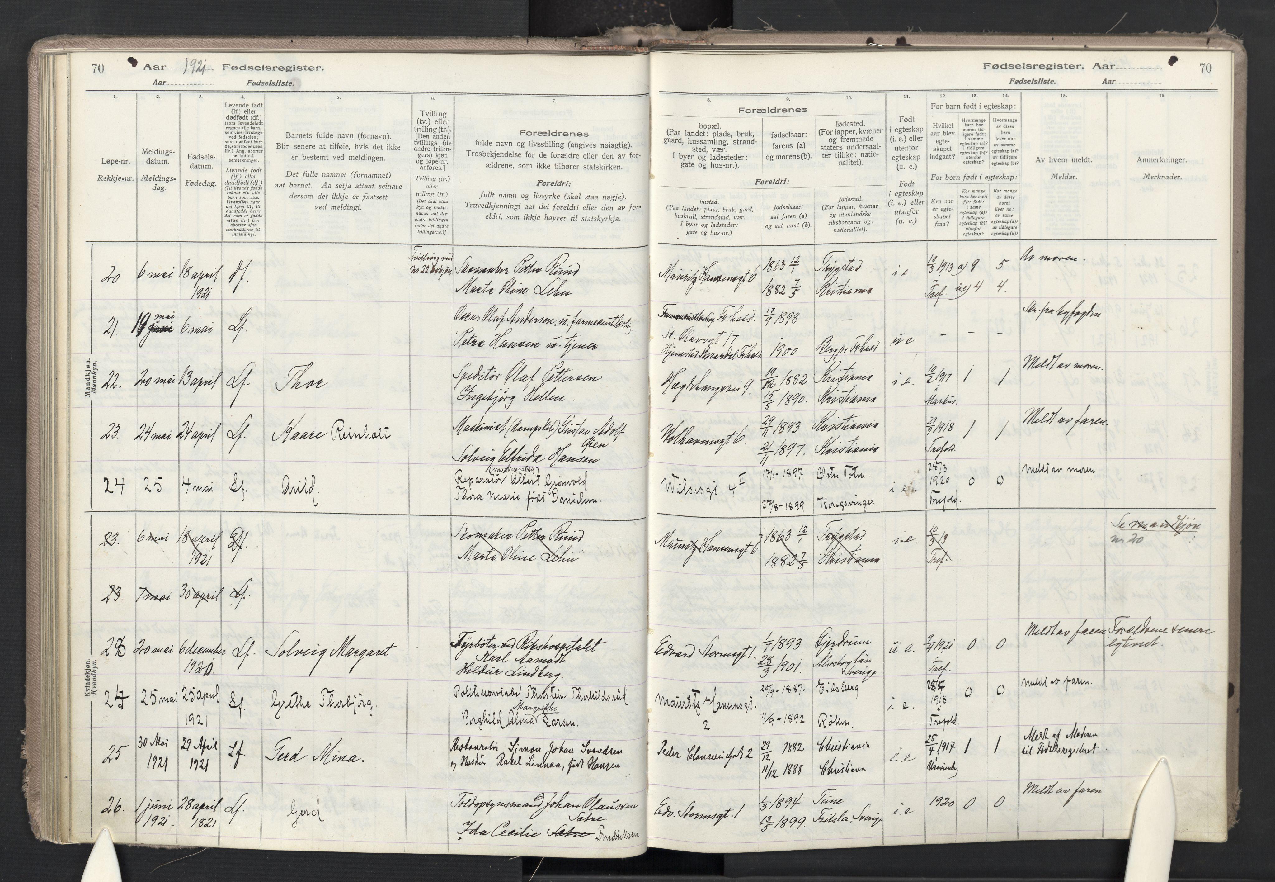 SAO, Trefoldighet prestekontor Kirkebøker, J/Ja/L0001: Fødselsregister nr. 1, 1916-1931, s. 70