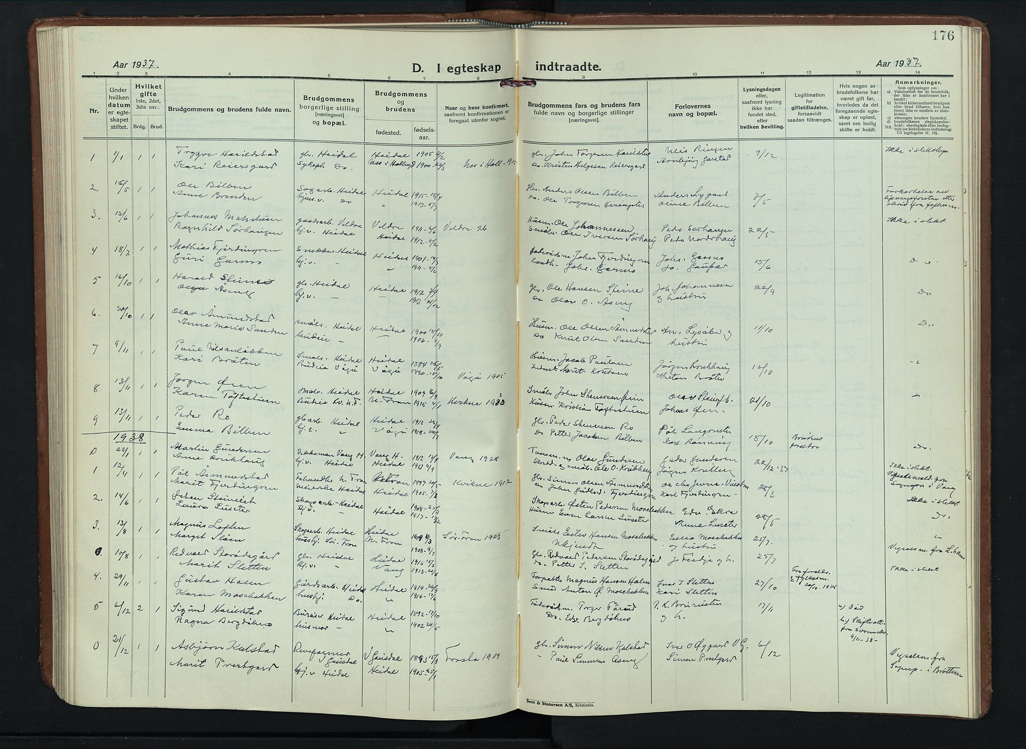 SAH, Sel prestekontor, Klokkerbok nr. 6, 1923-1953, s. 176
