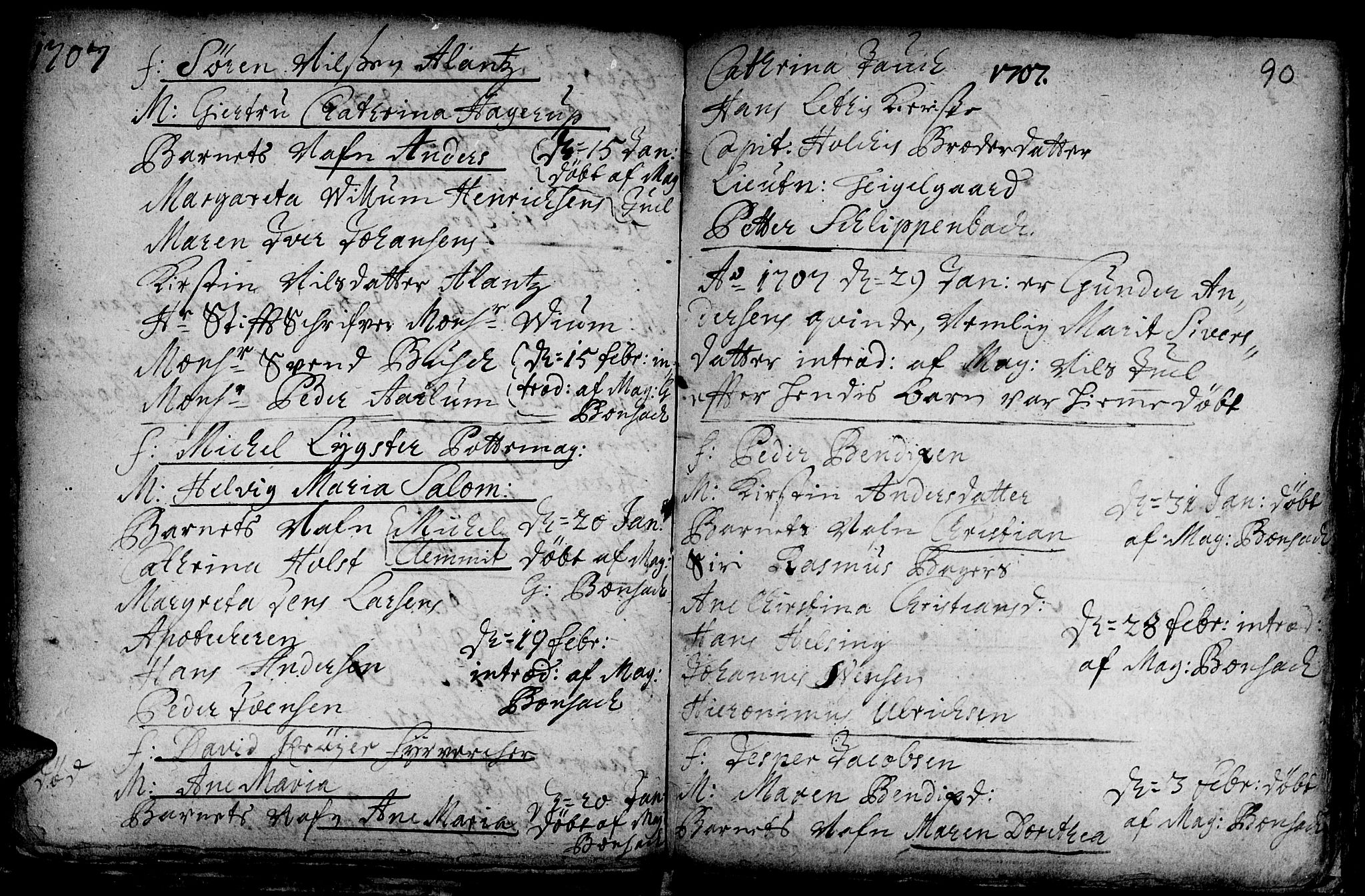 SAT, Ministerialprotokoller, klokkerbøker og fødselsregistre - Sør-Trøndelag, 601/L0034: Ministerialbok nr. 601A02, 1702-1714, s. 90