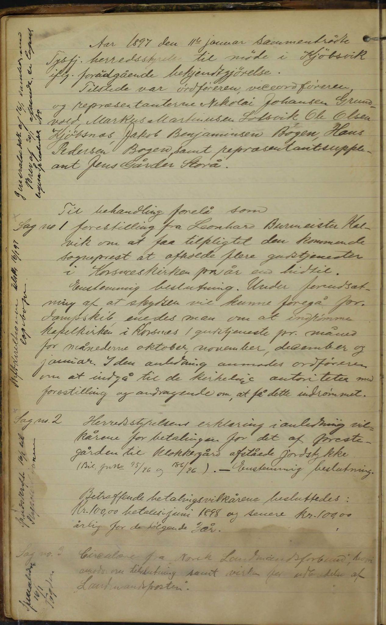 AIN, Tysfjord kommune. Formannskapet, 100/L0002: Forhandlingsprotokoll for Tysfjordens formandskap, 1895-1912, s. 19b