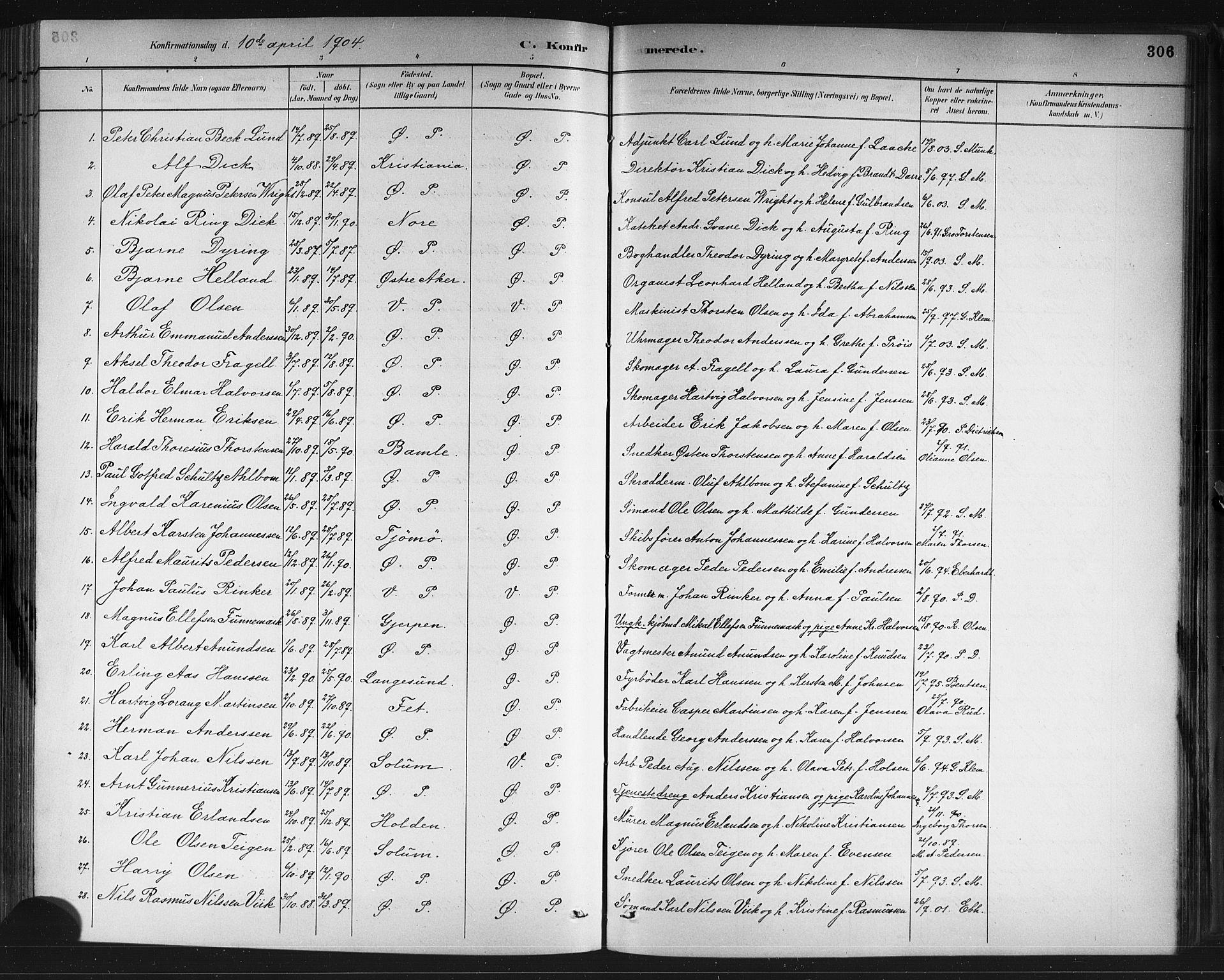 SAKO, Porsgrunn kirkebøker , G/Gb/L0005: Klokkerbok nr. II 5, 1883-1915, s. 306