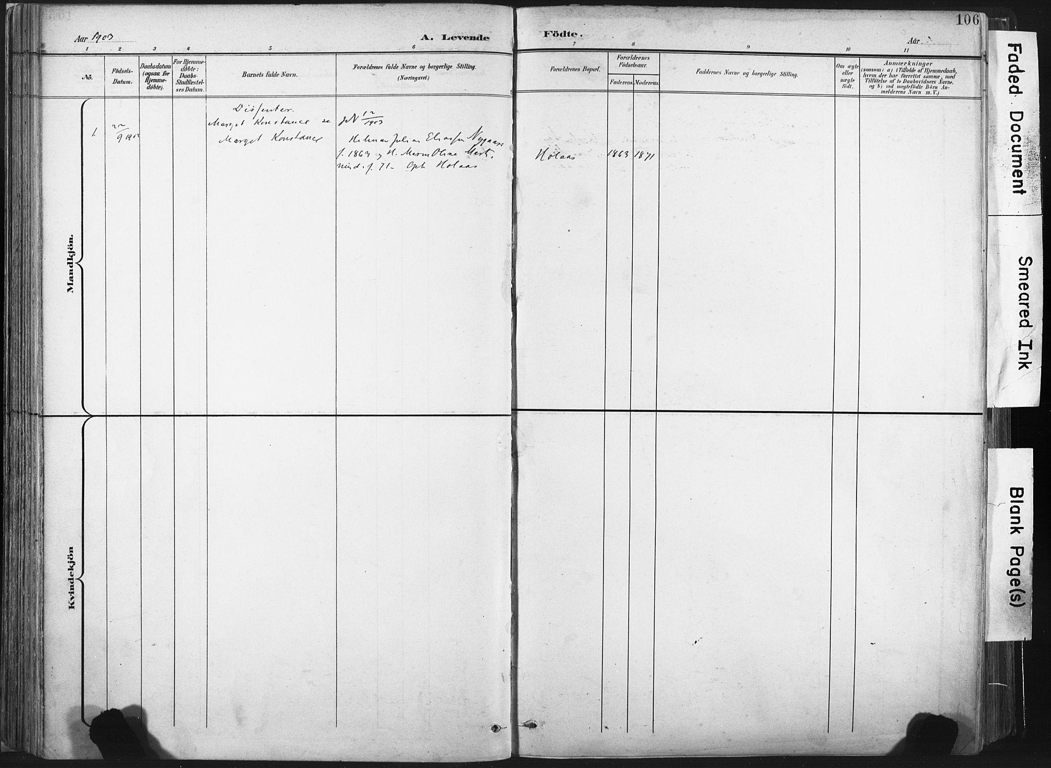 SAT, Ministerialprotokoller, klokkerbøker og fødselsregistre - Nord-Trøndelag, 717/L0162: Ministerialbok nr. 717A12, 1898-1923, s. 106