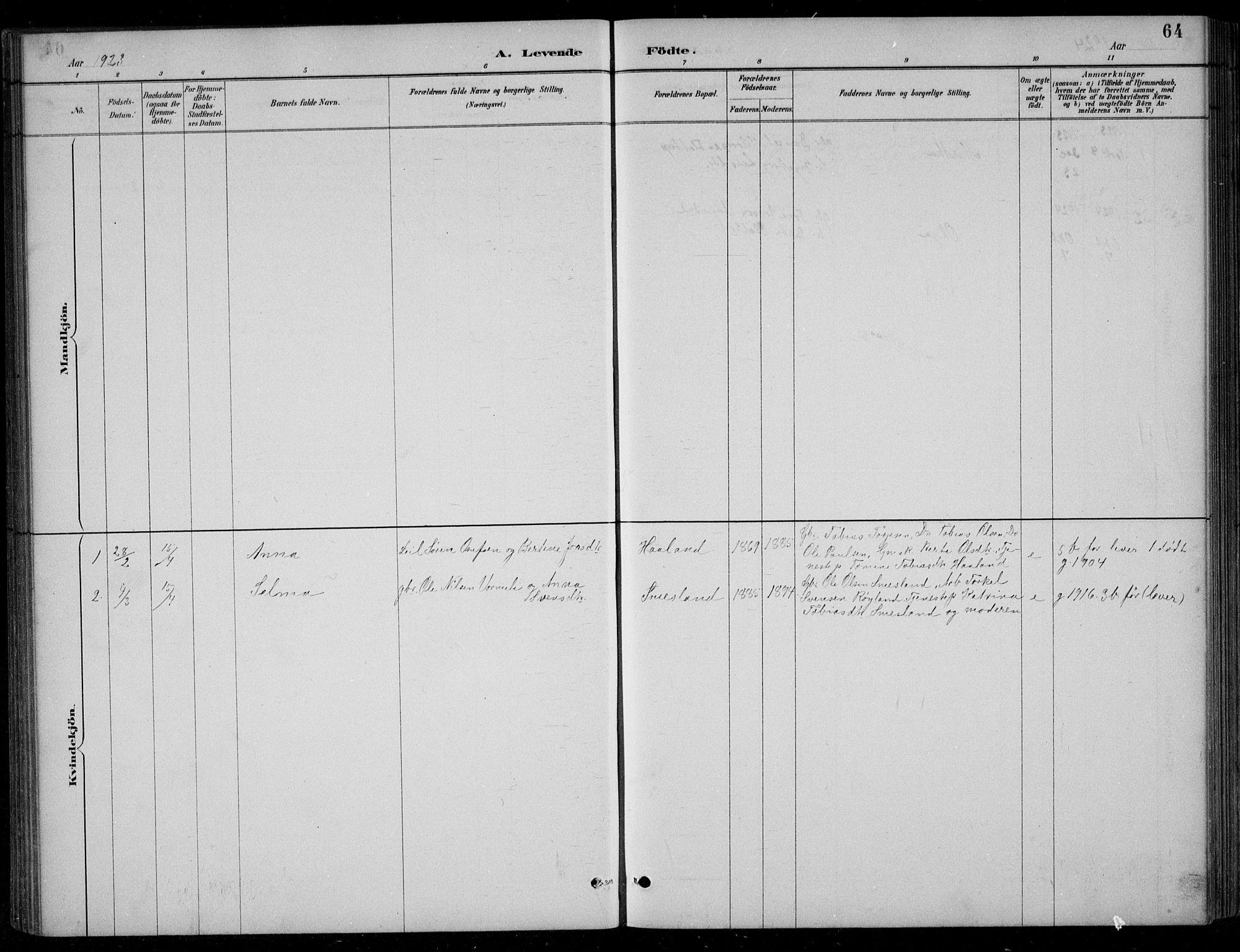 SAK, Bjelland sokneprestkontor, F/Fb/Fbc/L0003: Klokkerbok nr. B 3, 1887-1924, s. 64