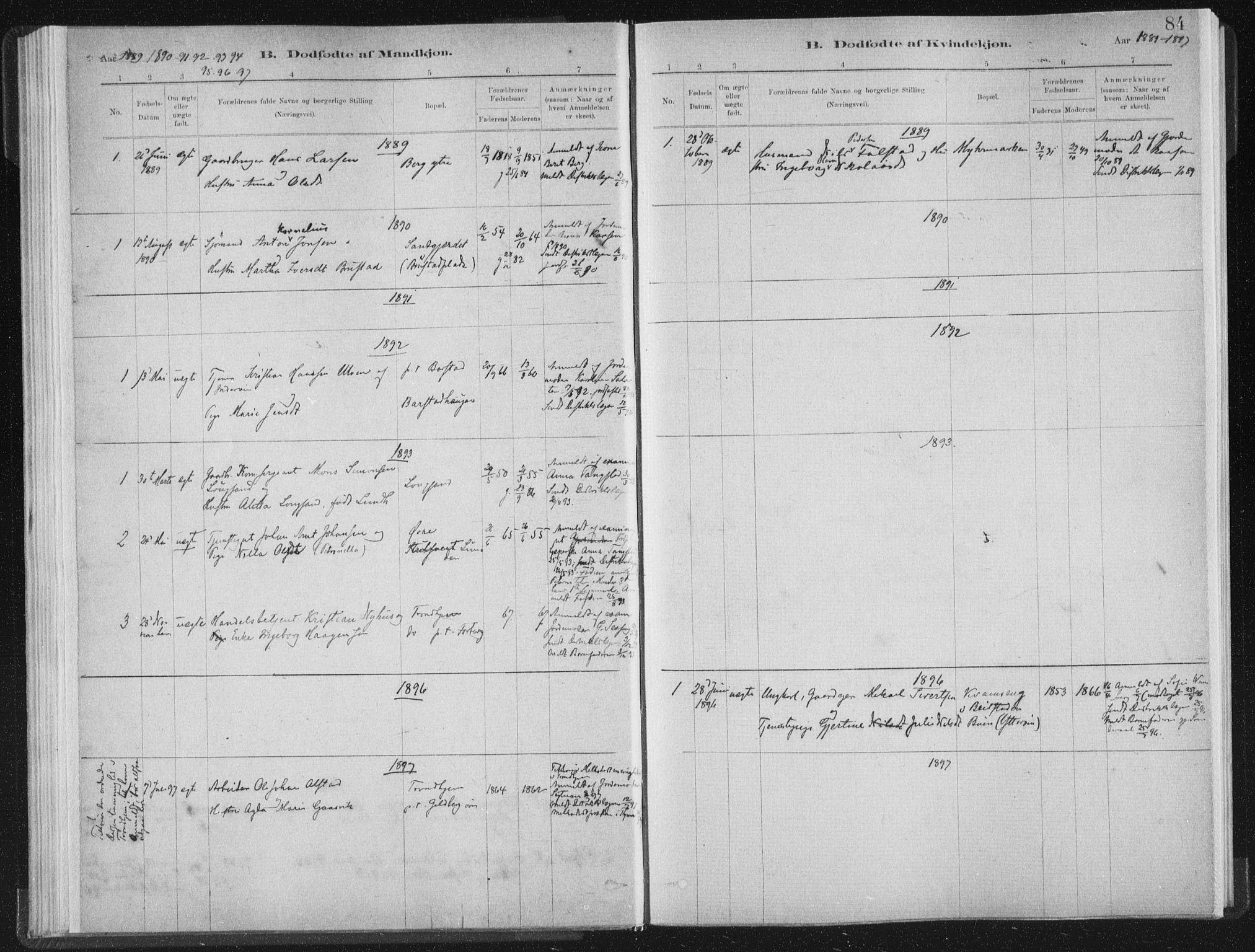 SAT, Ministerialprotokoller, klokkerbøker og fødselsregistre - Nord-Trøndelag, 722/L0220: Ministerialbok nr. 722A07, 1881-1908, s. 84