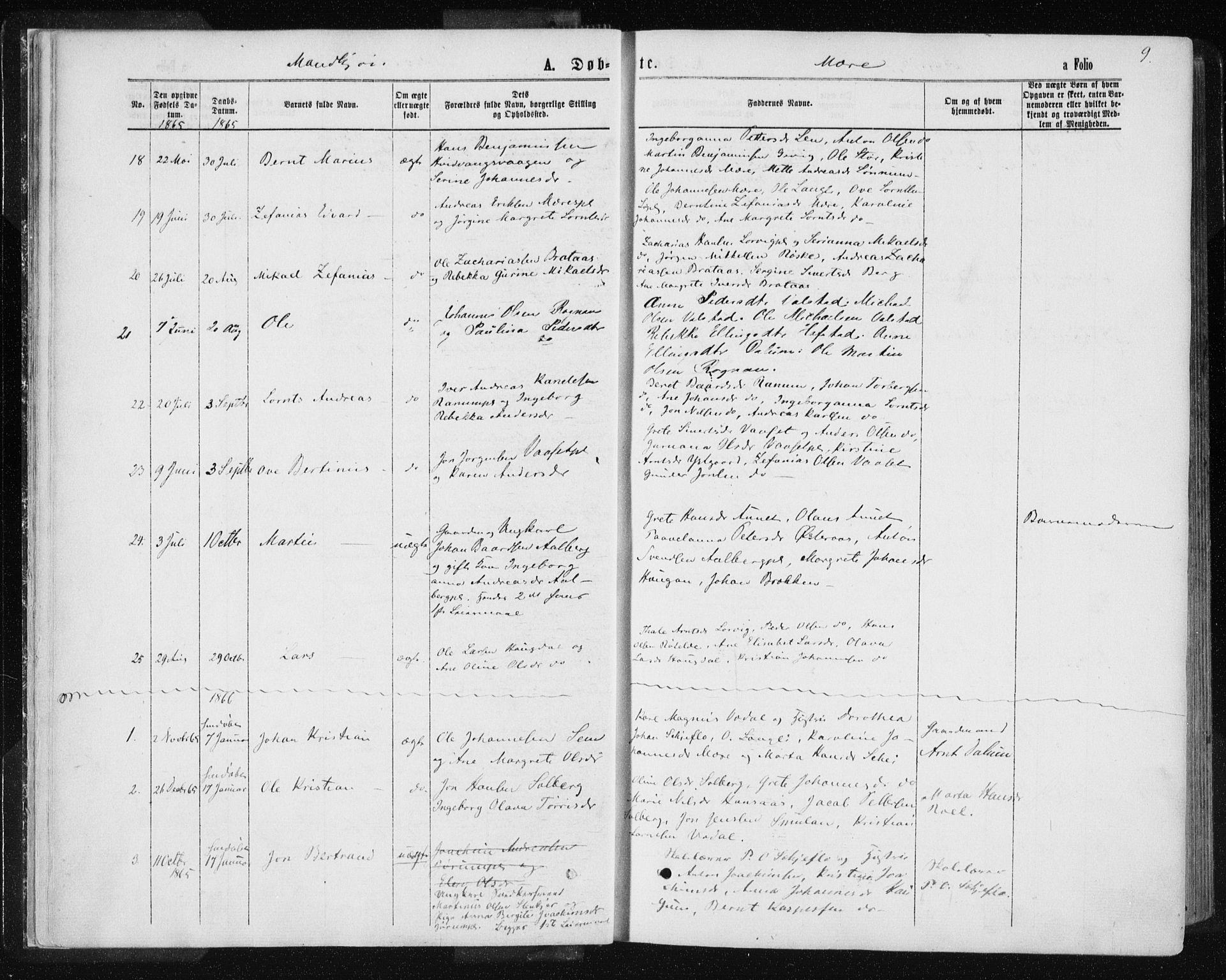SAT, Ministerialprotokoller, klokkerbøker og fødselsregistre - Nord-Trøndelag, 735/L0345: Ministerialbok nr. 735A08 /1, 1863-1872, s. 9