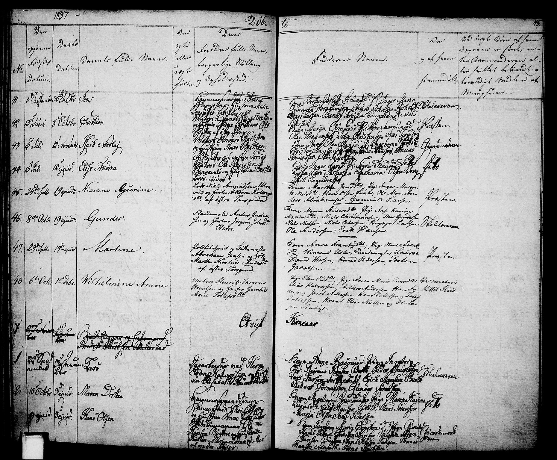 SAKO, Porsgrunn kirkebøker , F/Fa/L0005: Ministerialbok nr. 5, 1828-1840, s. 45