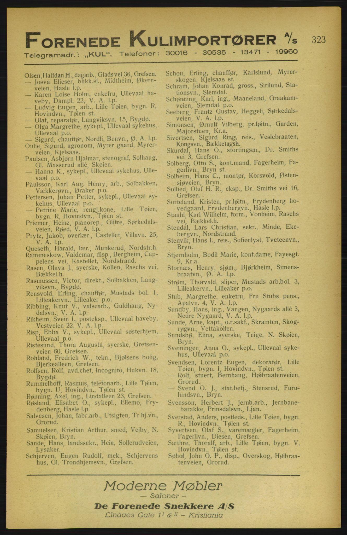 PUBL, Aker adressebok/adressekalender, 1922, s. 323