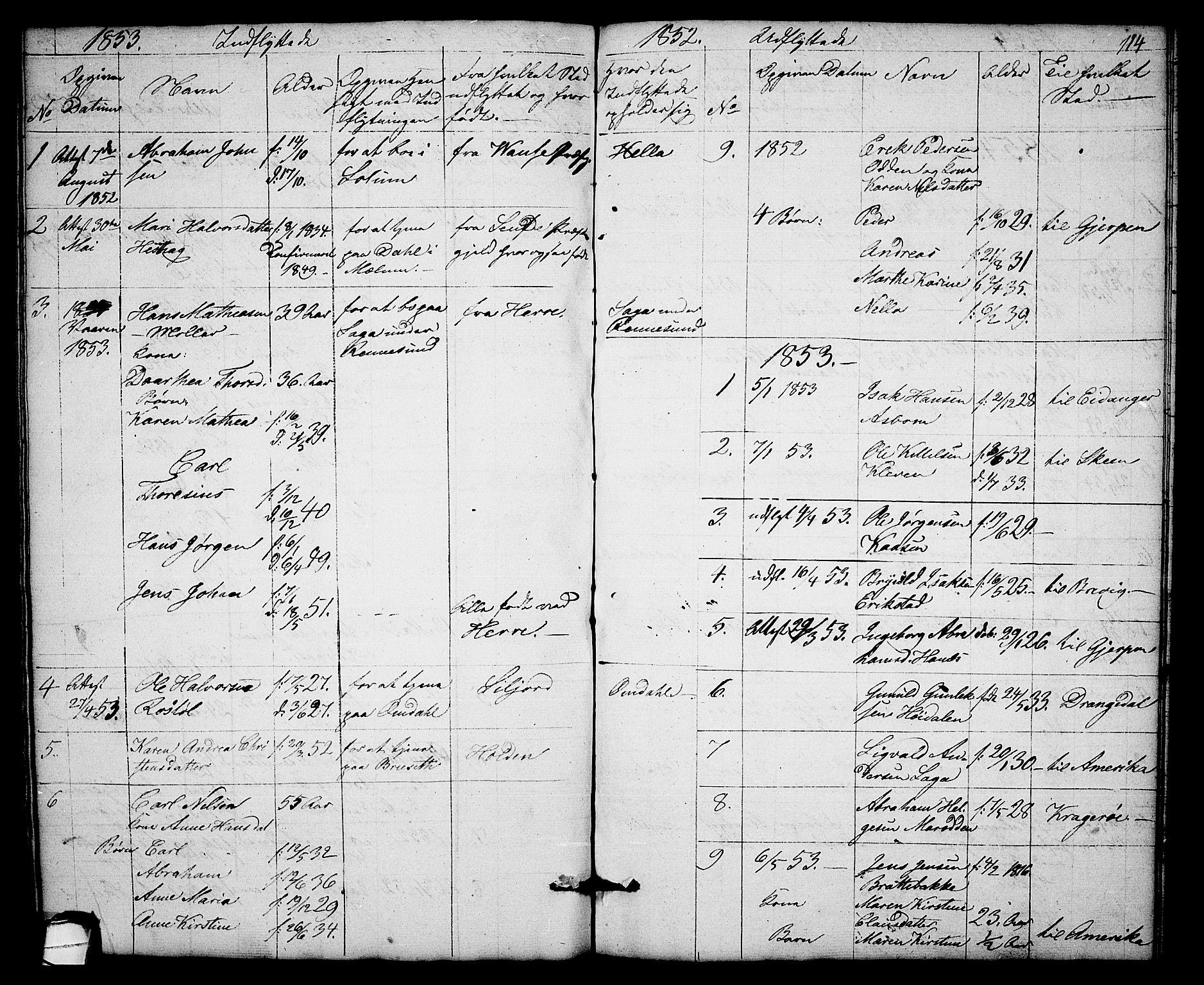 SAKO, Solum kirkebøker, G/Gb/L0001: Klokkerbok nr. II 1, 1848-1859, s. 114