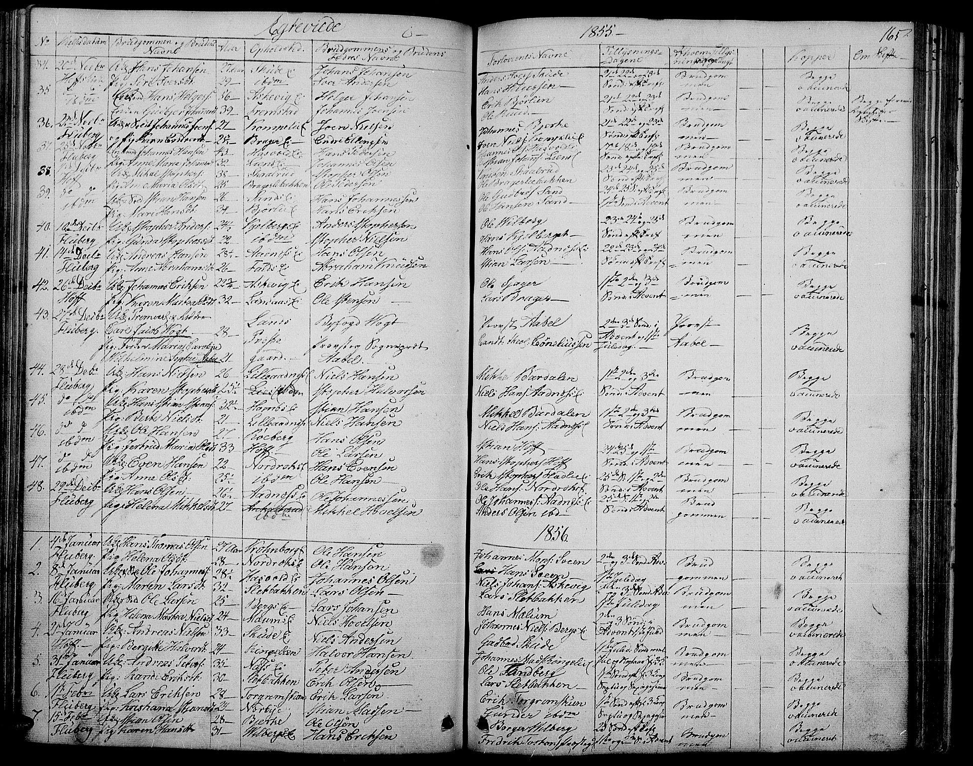 SAH, Søndre Land prestekontor, L/L0001: Klokkerbok nr. 1, 1849-1883, s. 165