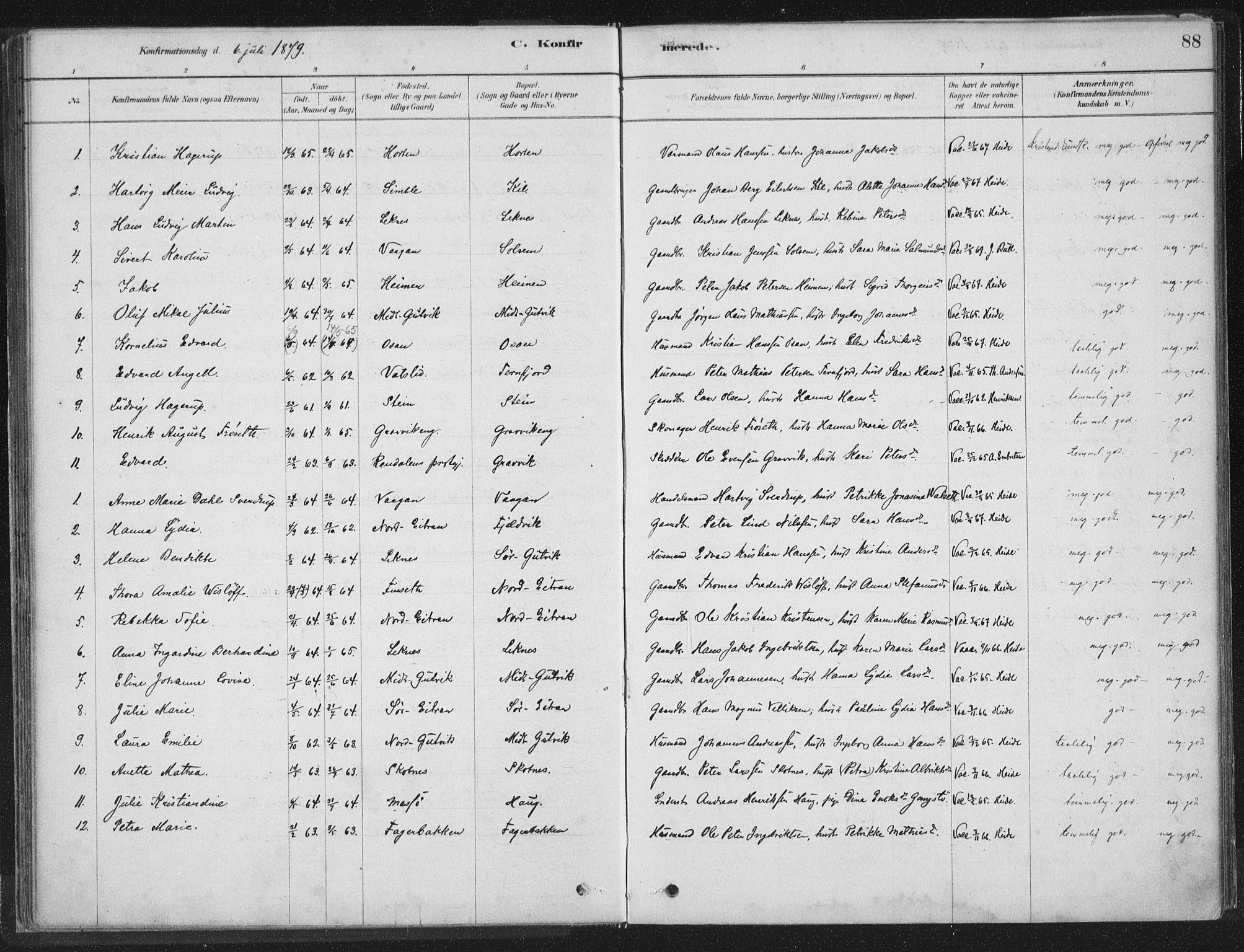 SAT, Ministerialprotokoller, klokkerbøker og fødselsregistre - Nord-Trøndelag, 788/L0697: Ministerialbok nr. 788A04, 1878-1902, s. 88