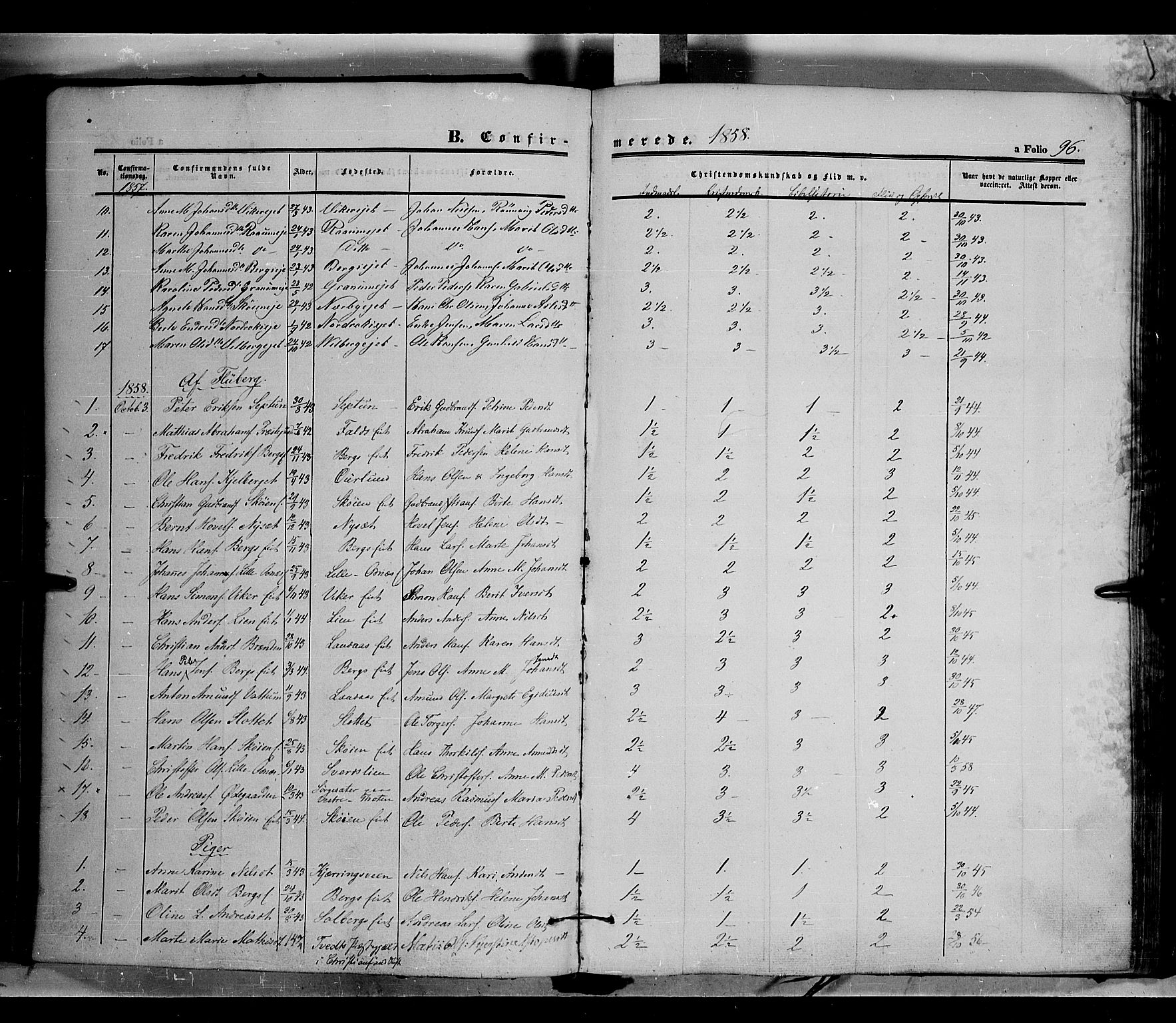 SAH, Land prestekontor, Ministerialbok nr. 9, 1847-1859, s. 96