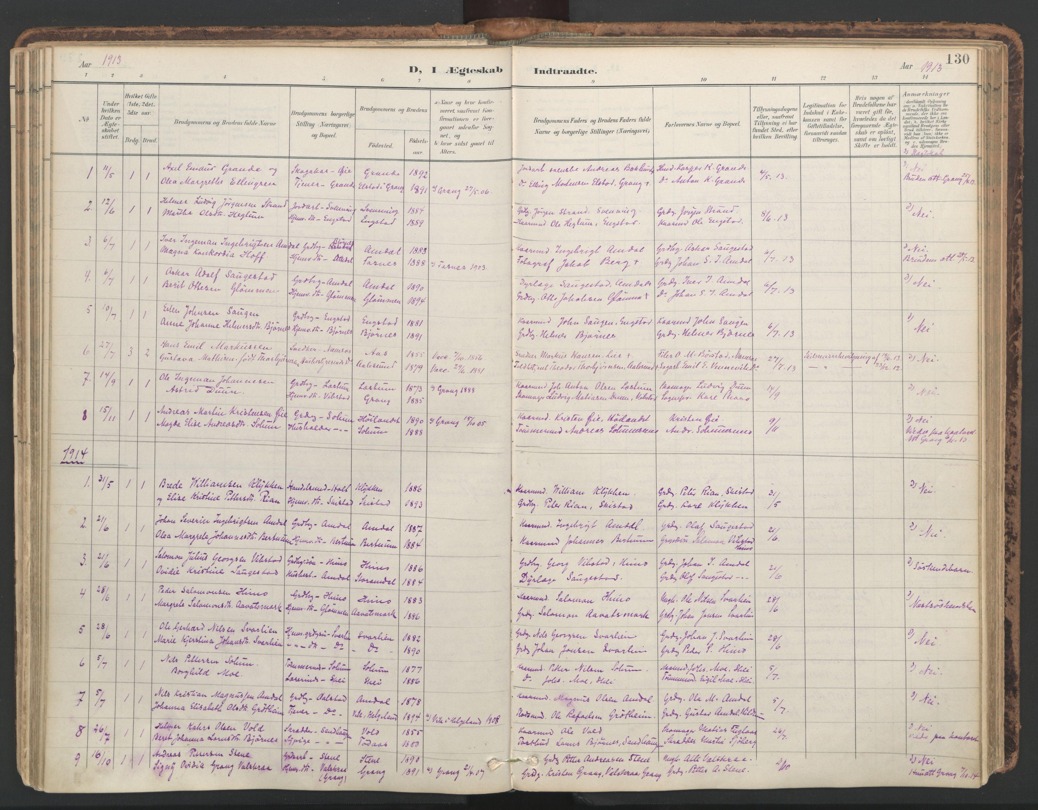 SAT, Ministerialprotokoller, klokkerbøker og fødselsregistre - Nord-Trøndelag, 764/L0556: Ministerialbok nr. 764A11, 1897-1924, s. 130