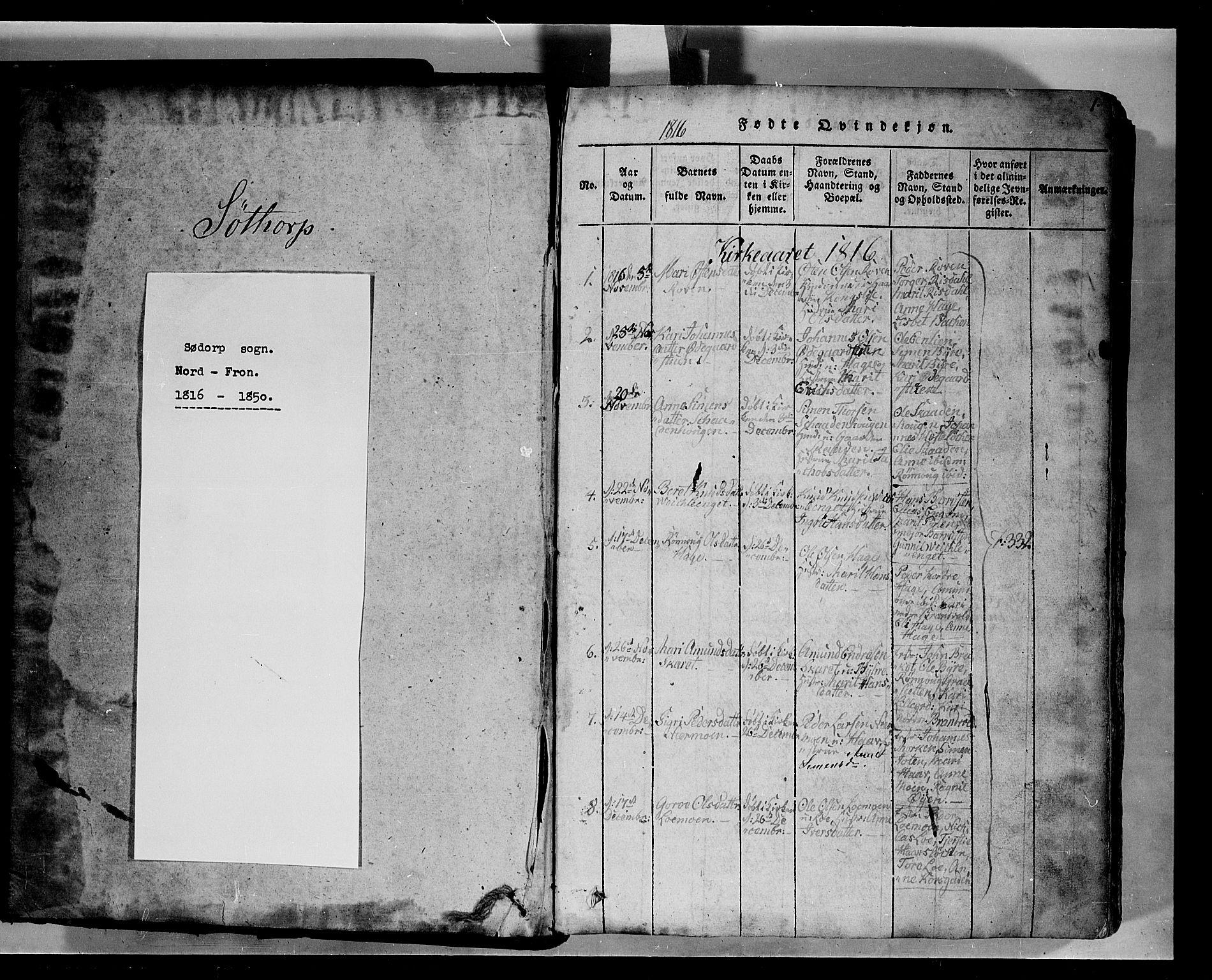 SAH, Fron prestekontor, H/Ha/Hab/L0004: Klokkerbok nr. 4, 1816-1850, s. 1