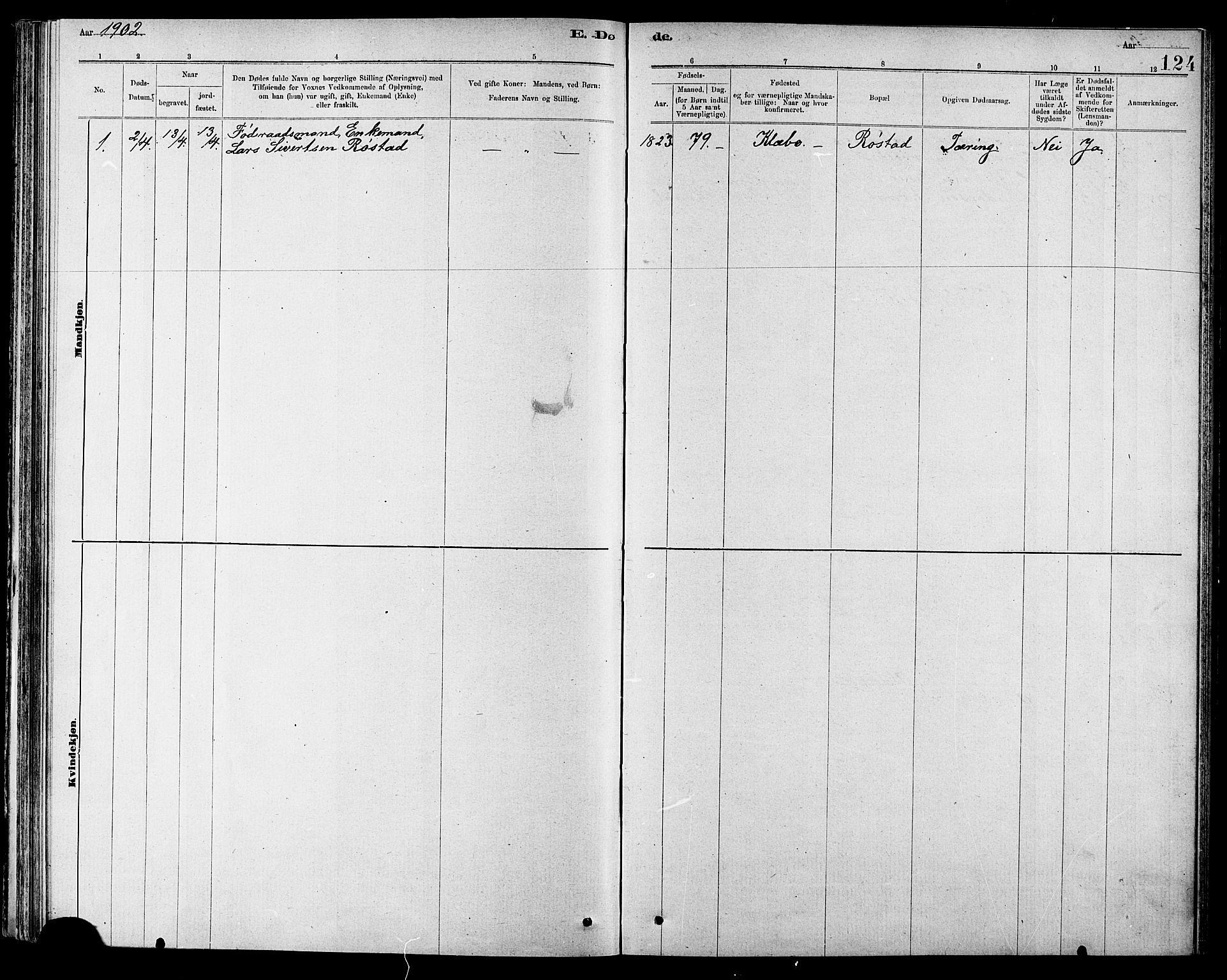 SAT, Ministerialprotokoller, klokkerbøker og fødselsregistre - Sør-Trøndelag, 608/L0341: Klokkerbok nr. 608C07, 1890-1912, s. 124