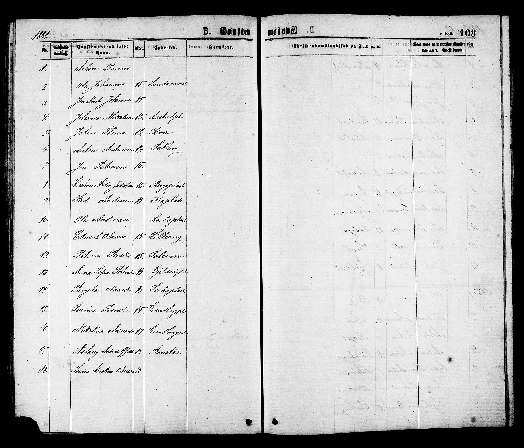 SAT, Ministerialprotokoller, klokkerbøker og fødselsregistre - Nord-Trøndelag, 731/L0311: Klokkerbok nr. 731C02, 1875-1911, s. 108