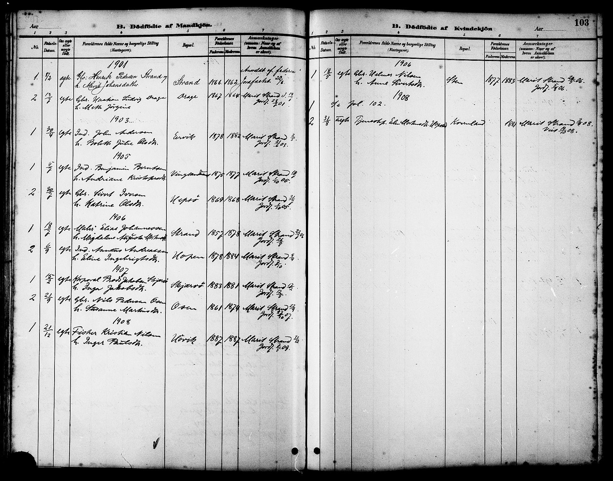 SAT, Ministerialprotokoller, klokkerbøker og fødselsregistre - Sør-Trøndelag, 658/L0726: Klokkerbok nr. 658C02, 1883-1908, s. 103
